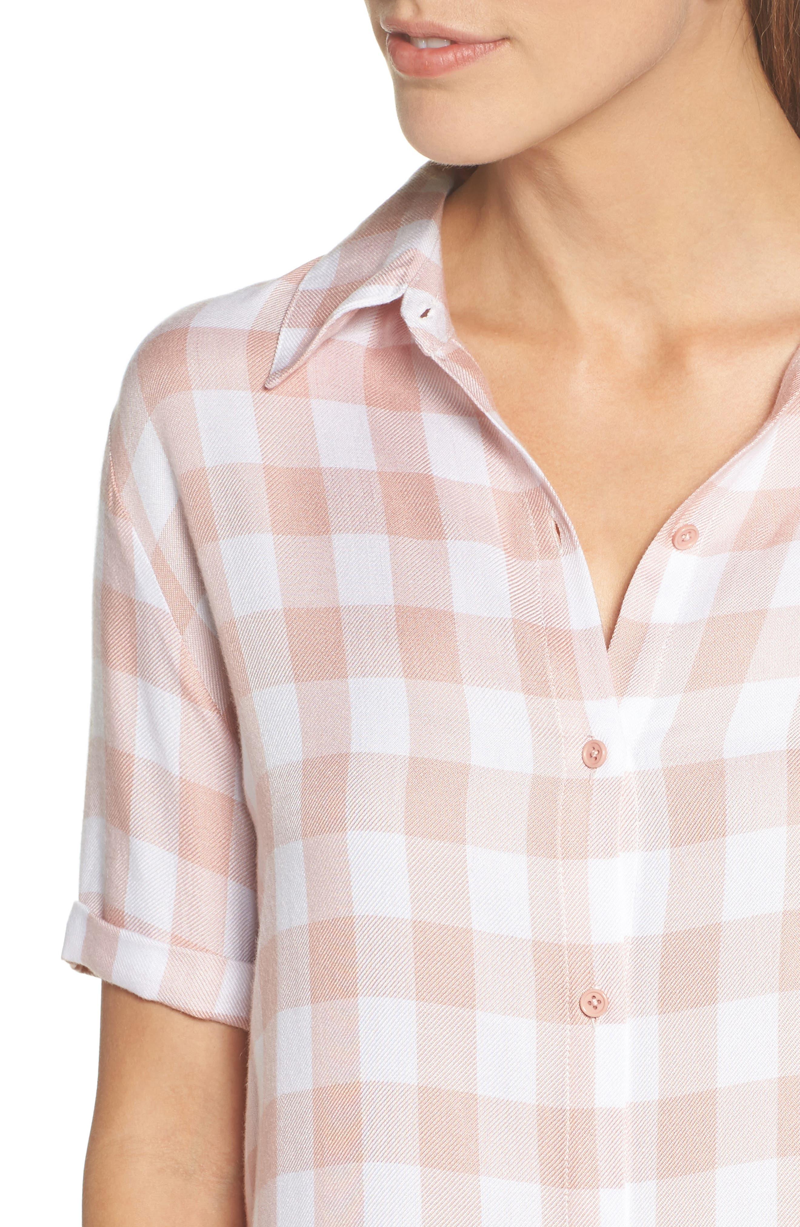Cicely Plaid Shirtdress,                             Alternate thumbnail 4, color,                             Pink Lemonade