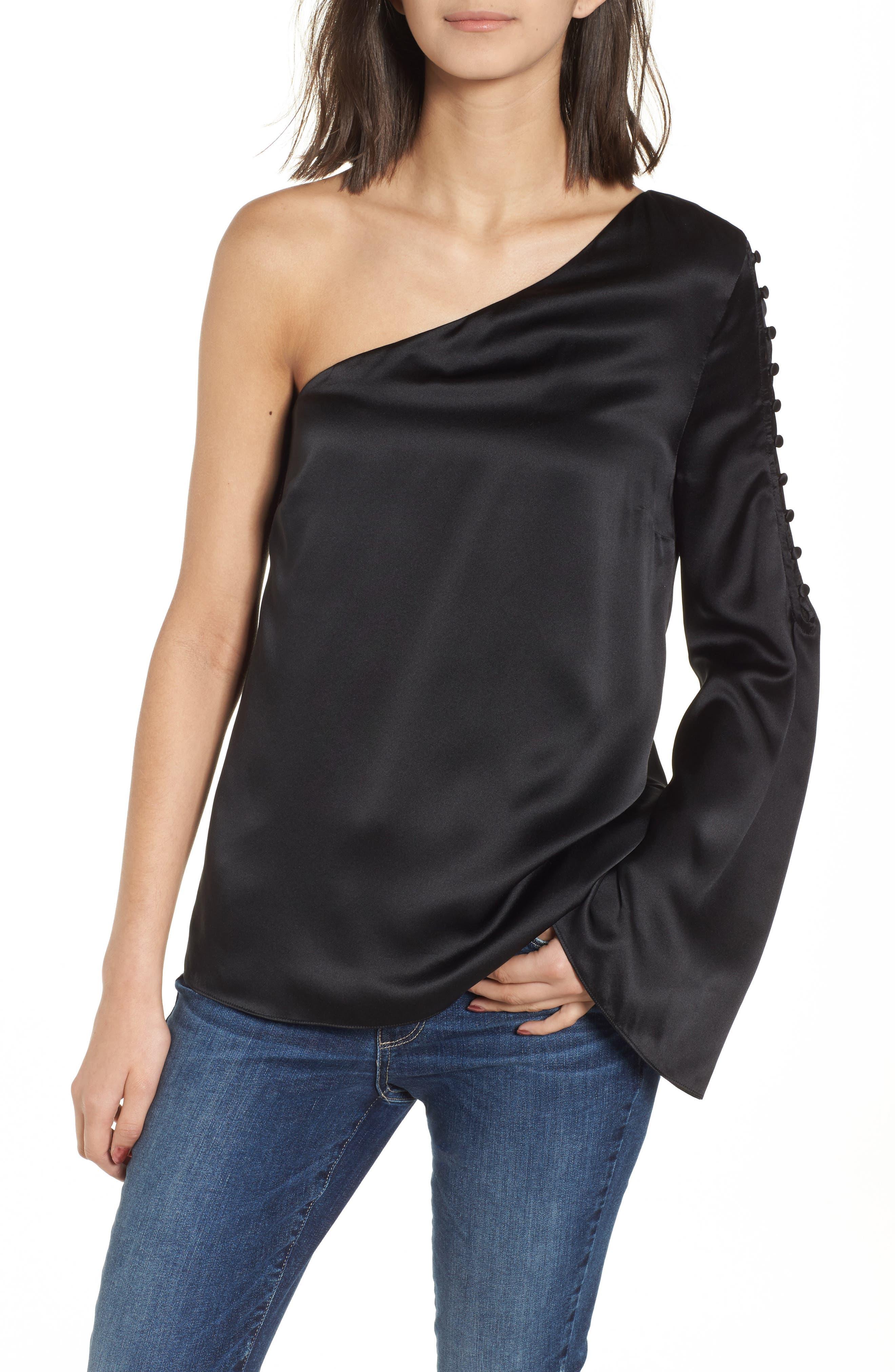 Ripley One-Shoulder Silk Blouse,                         Main,                         color, Black