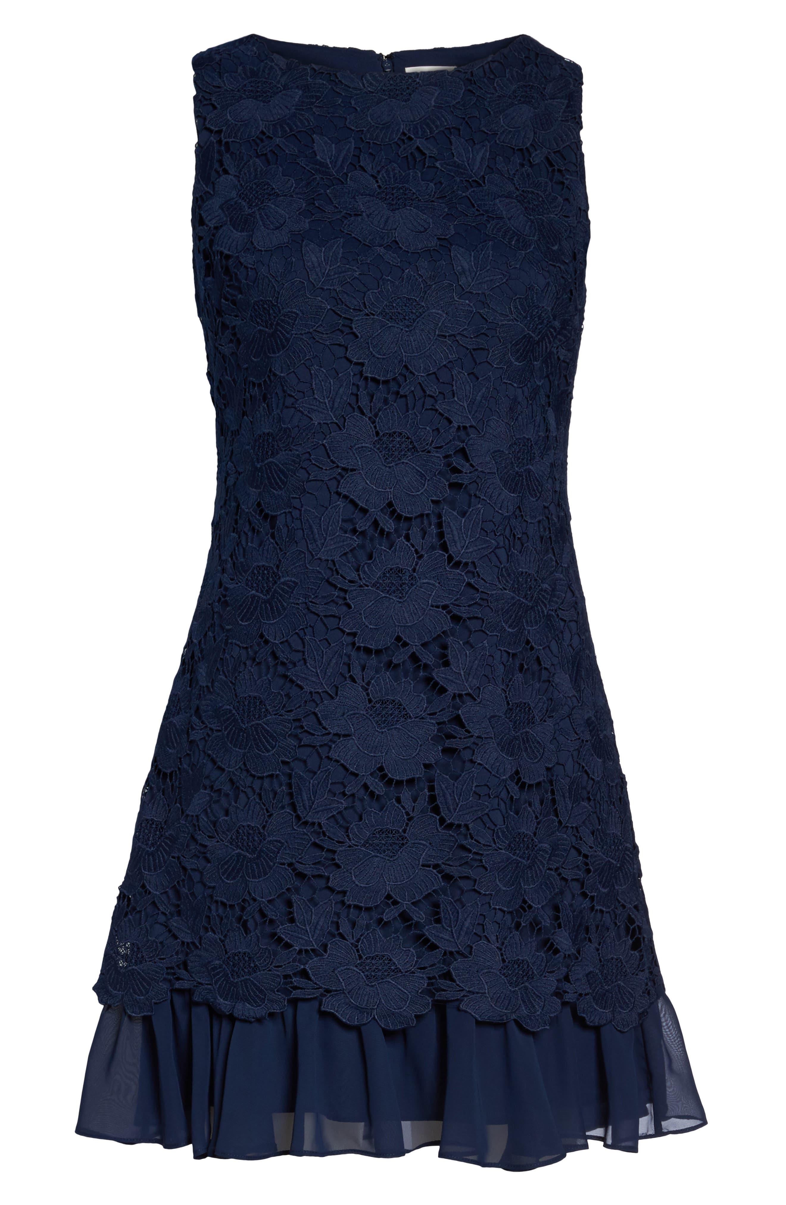 Lace Ruffle Hem Sheath Dress,                             Alternate thumbnail 6, color,                             Navy