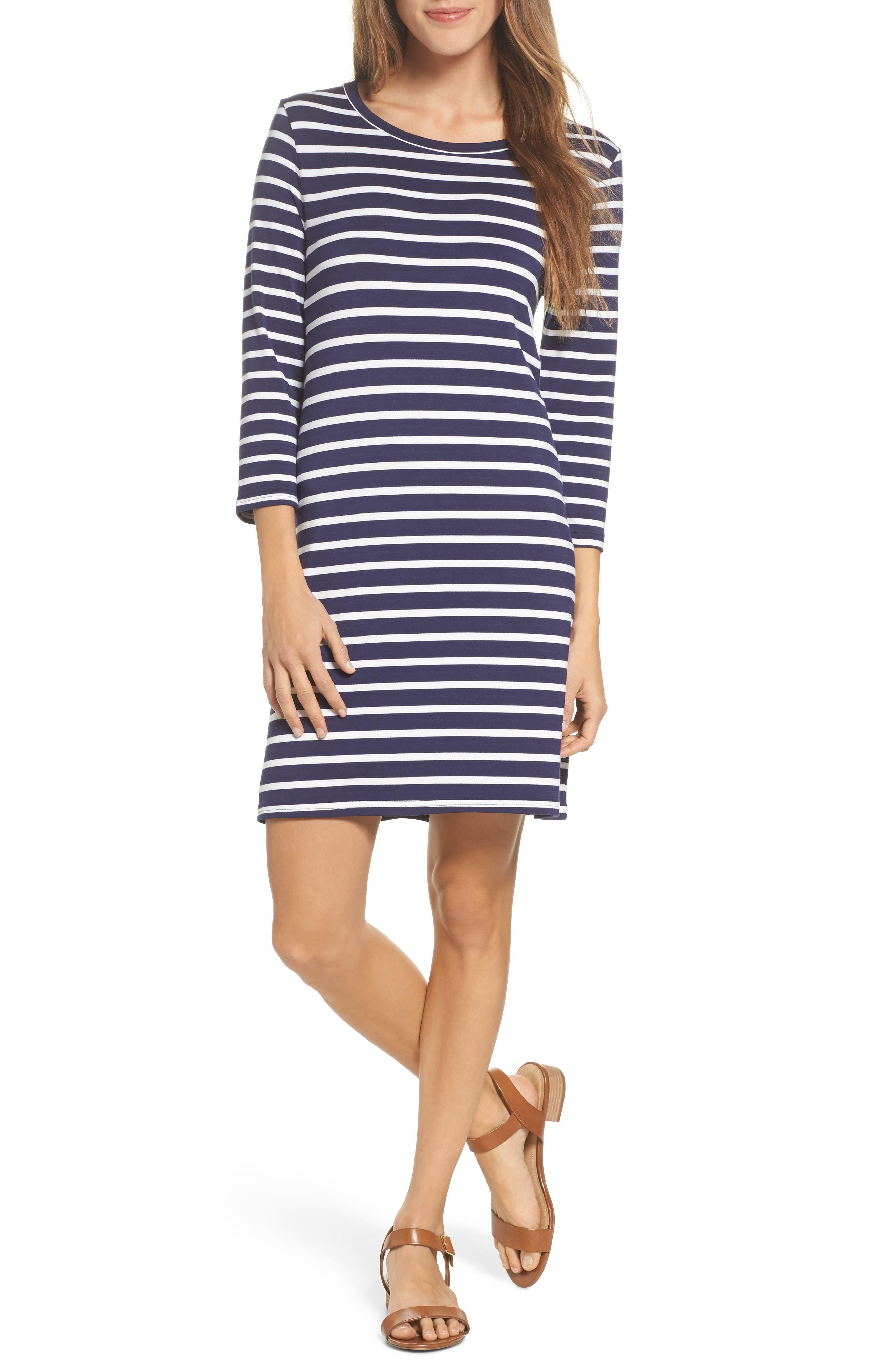 Adelene Stripe Knit Shift Dress,                             Main thumbnail 1, color,                             Navy
