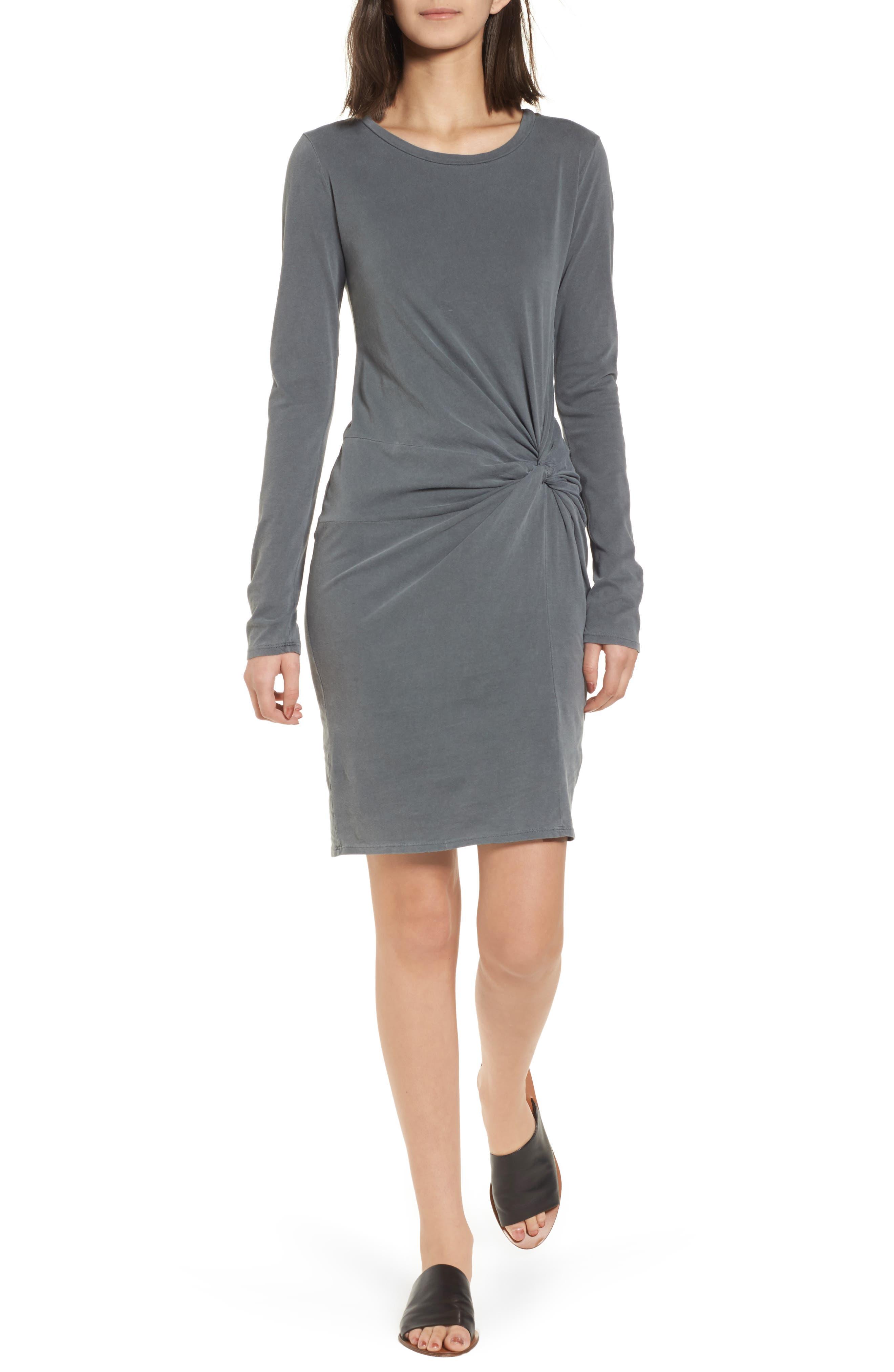 Twist Dress,                         Main,                         color, Charcoal