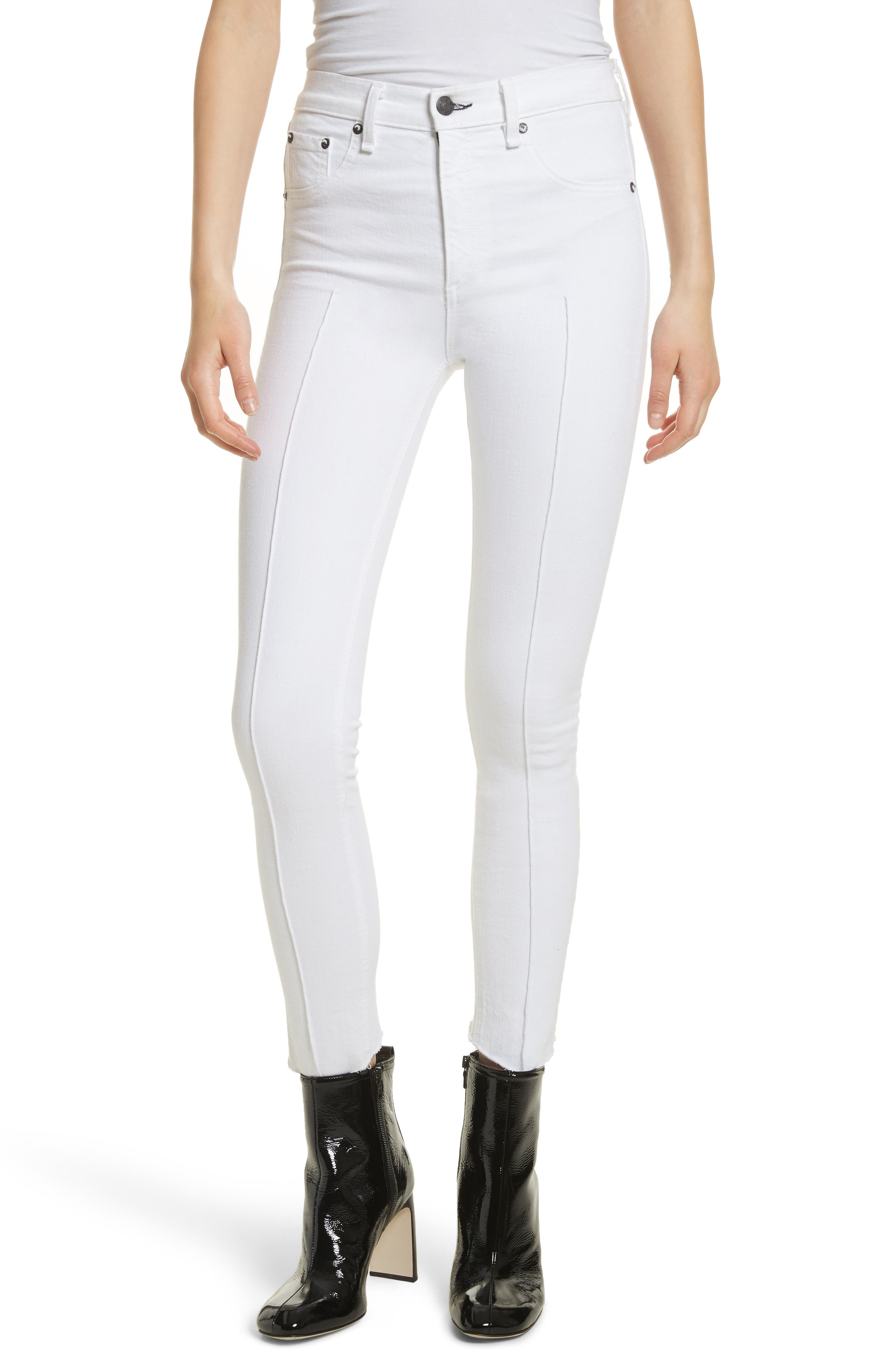 High Waist Ankle Skinny Jeans,                             Main thumbnail 1, color,                             White Manson