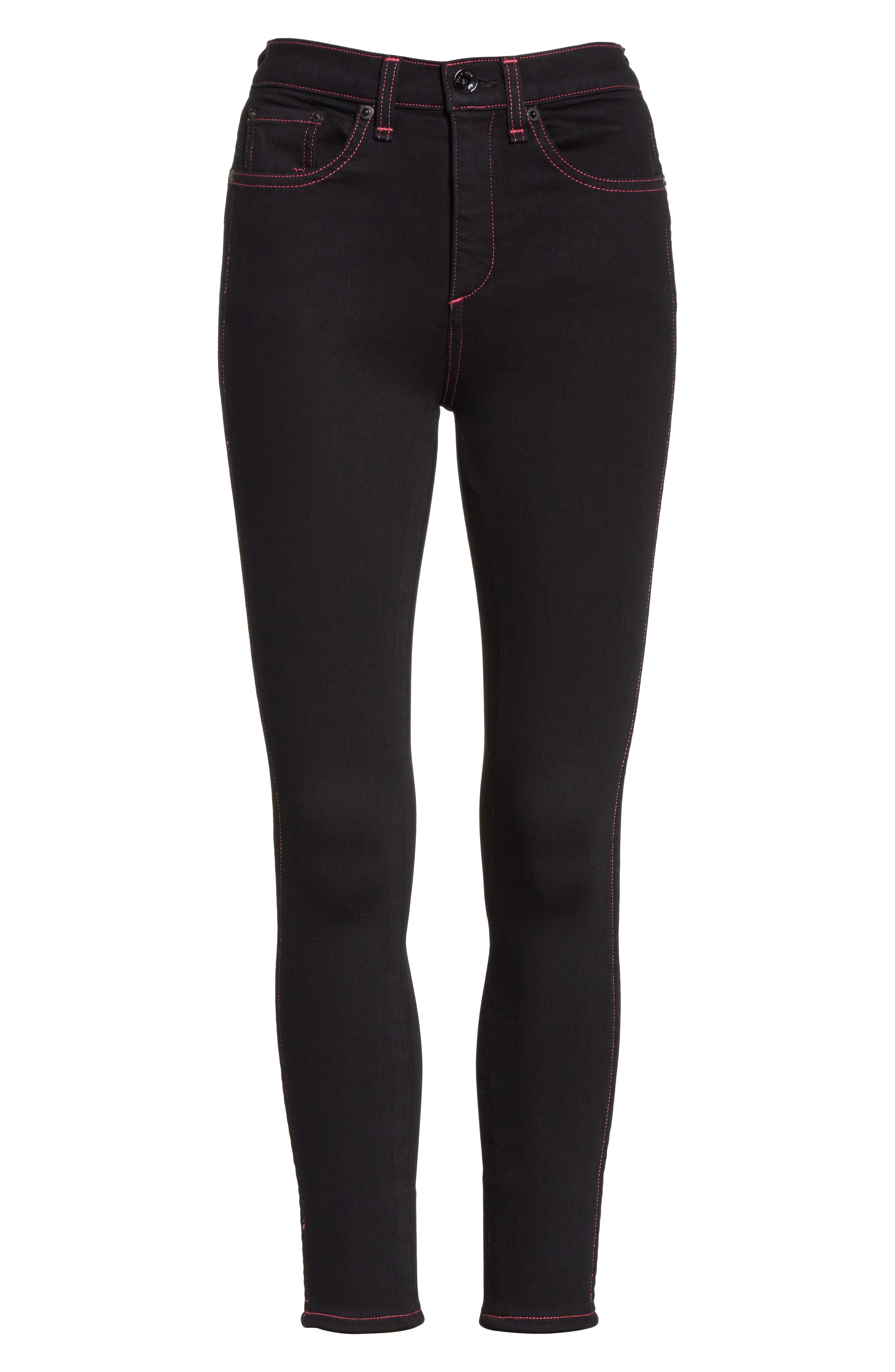 Miich High Rise Crop Skinny Jeans,                             Alternate thumbnail 6, color,                             Black Stitch