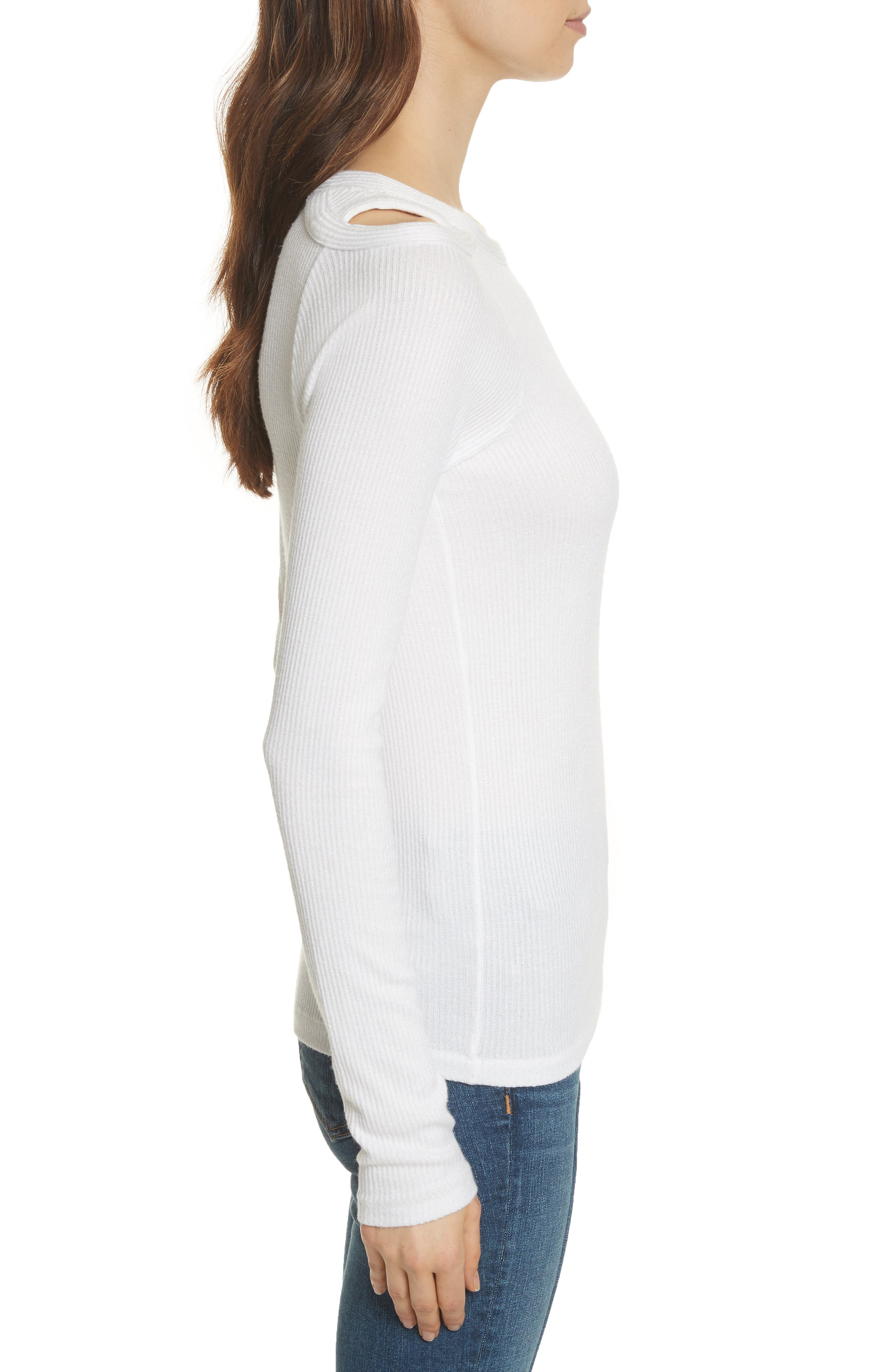 Rosalind Cutout Ribbed Top,                             Alternate thumbnail 3, color,                             White