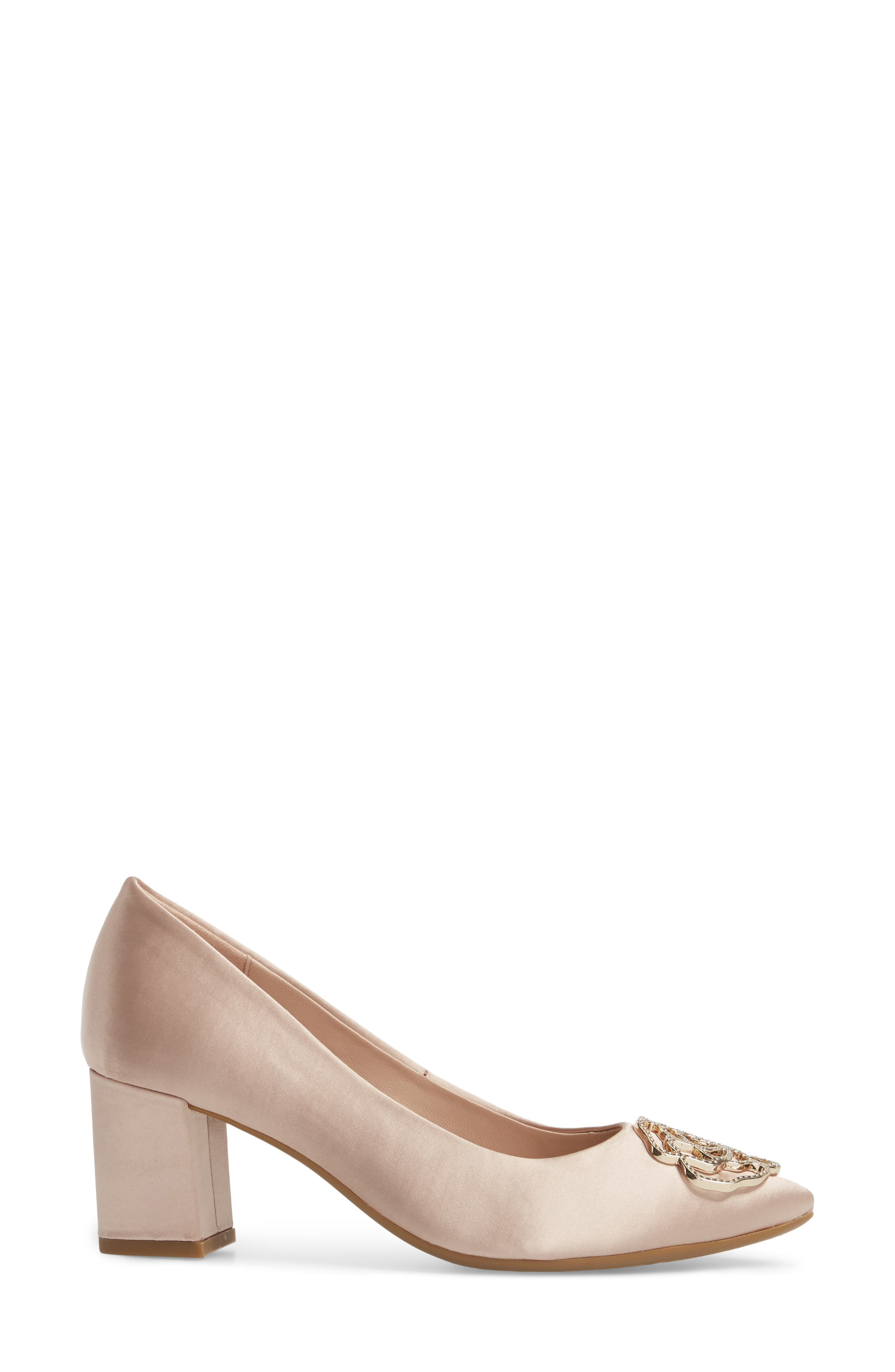 Maci Pump,                             Alternate thumbnail 3, color,                             Blush Satin Fabric