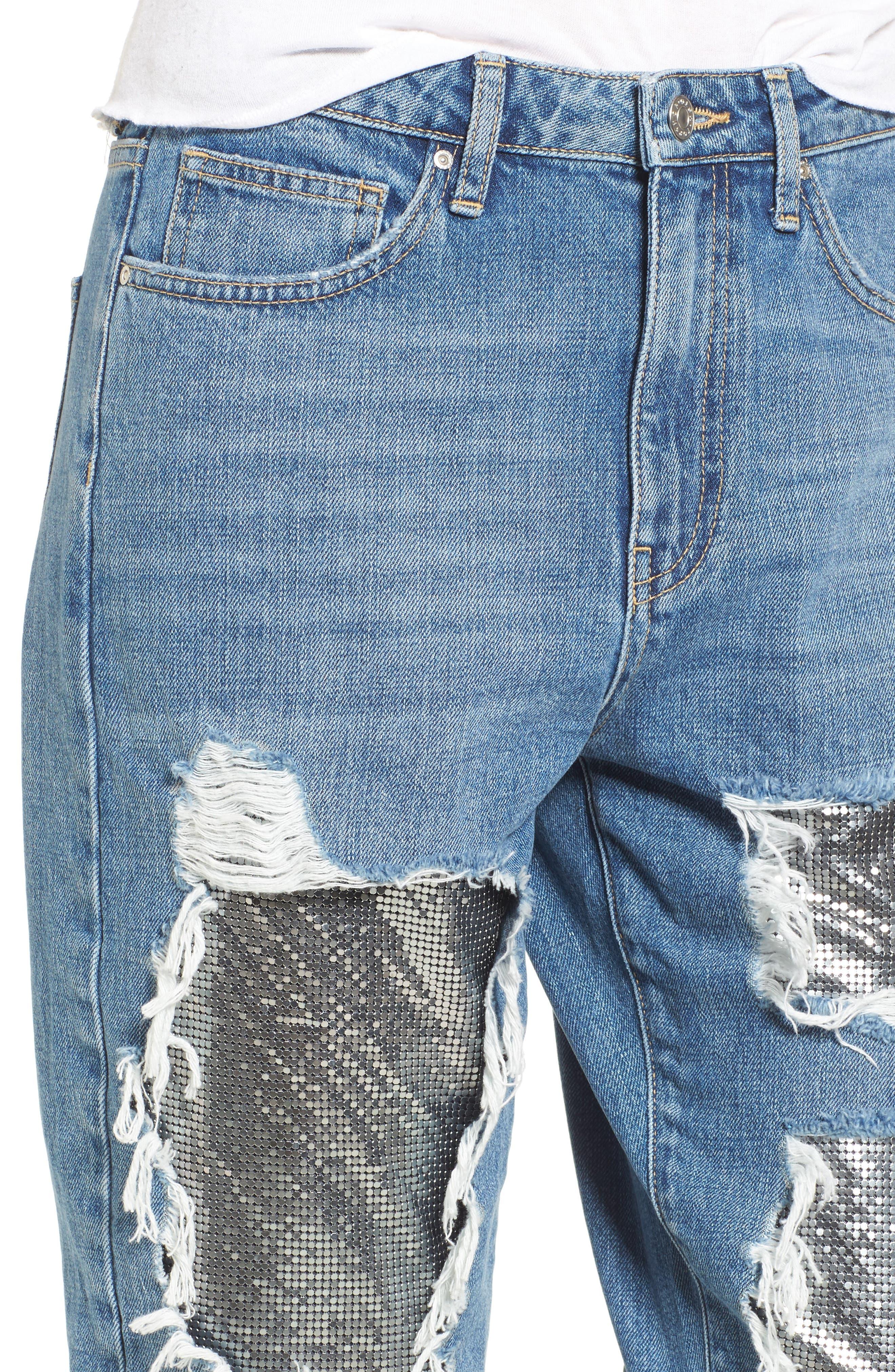 Chain Mail Boyfriend Jeans,                             Alternate thumbnail 6, color,                             Light Denim Multi