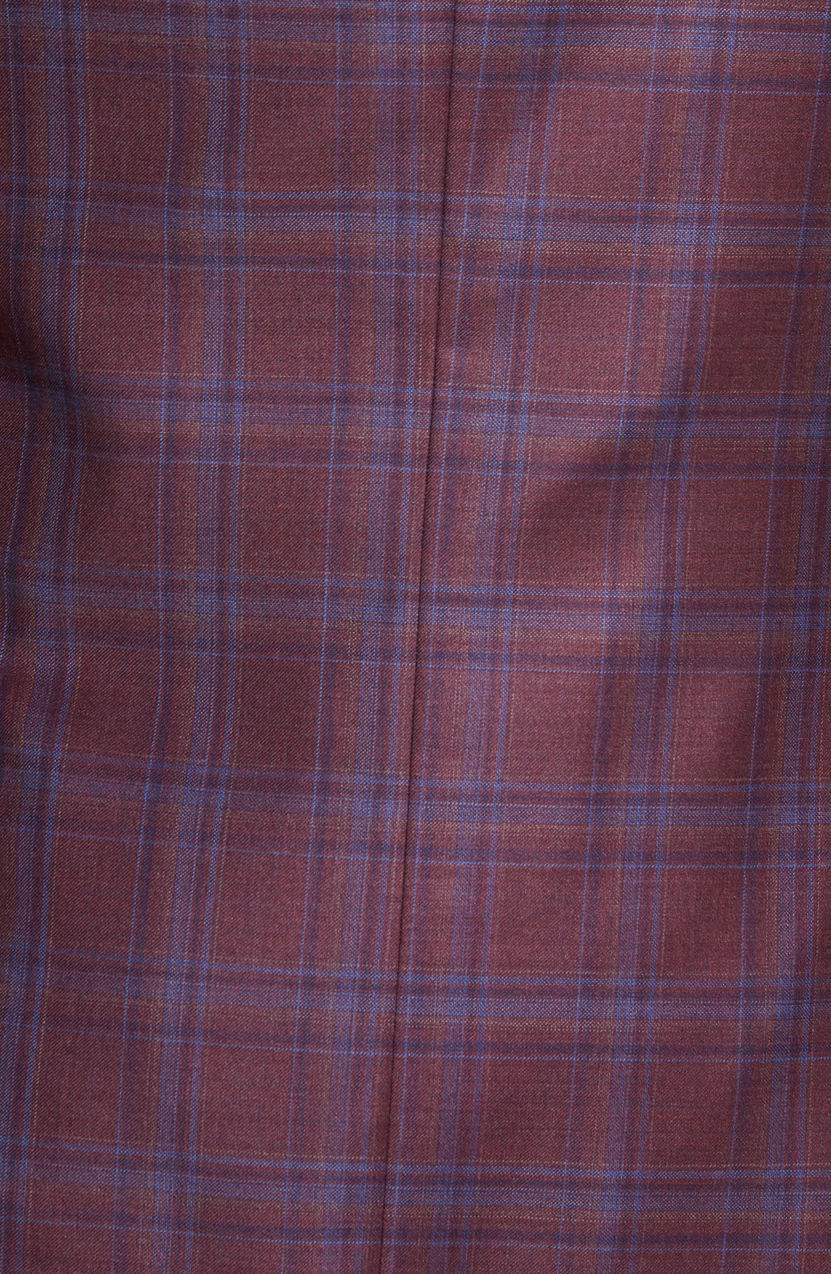 Jay Trim Fit Plaid Wool Sport Coat,                             Alternate thumbnail 5, color,                             Red
