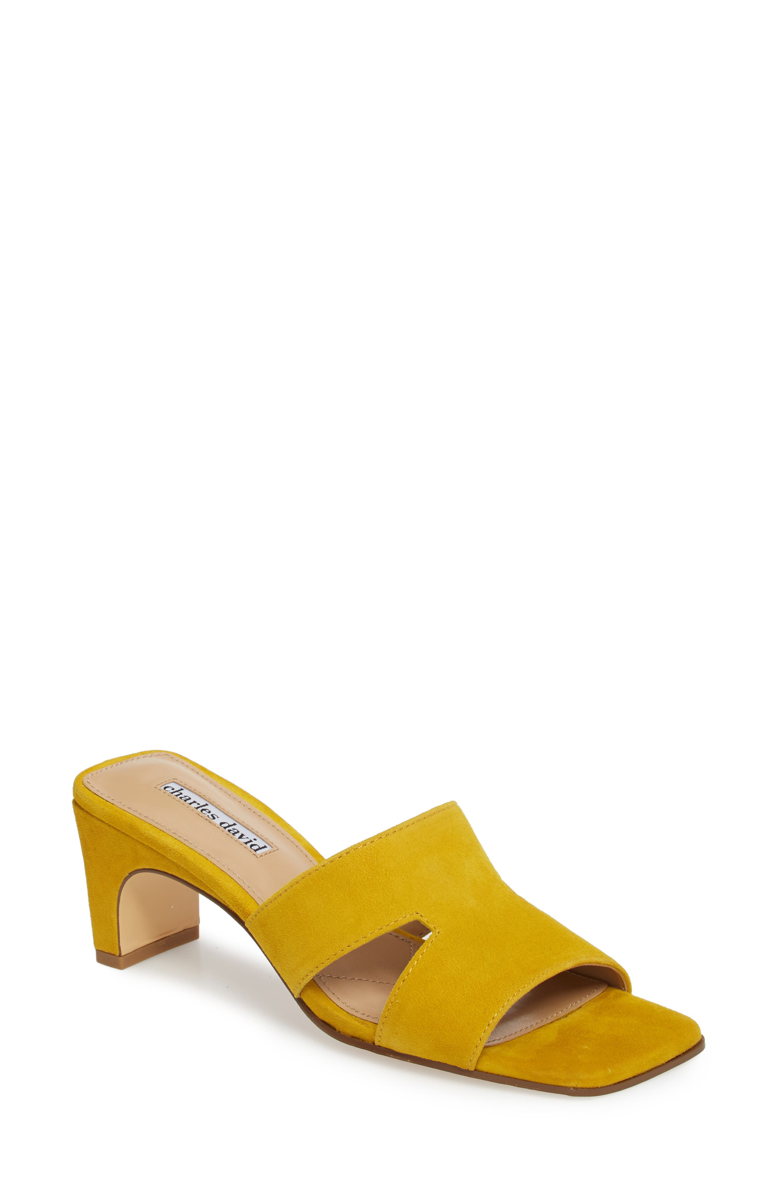 Harley Slide Sandal,                             Main thumbnail 1, color,                             Bright Yellow Suede