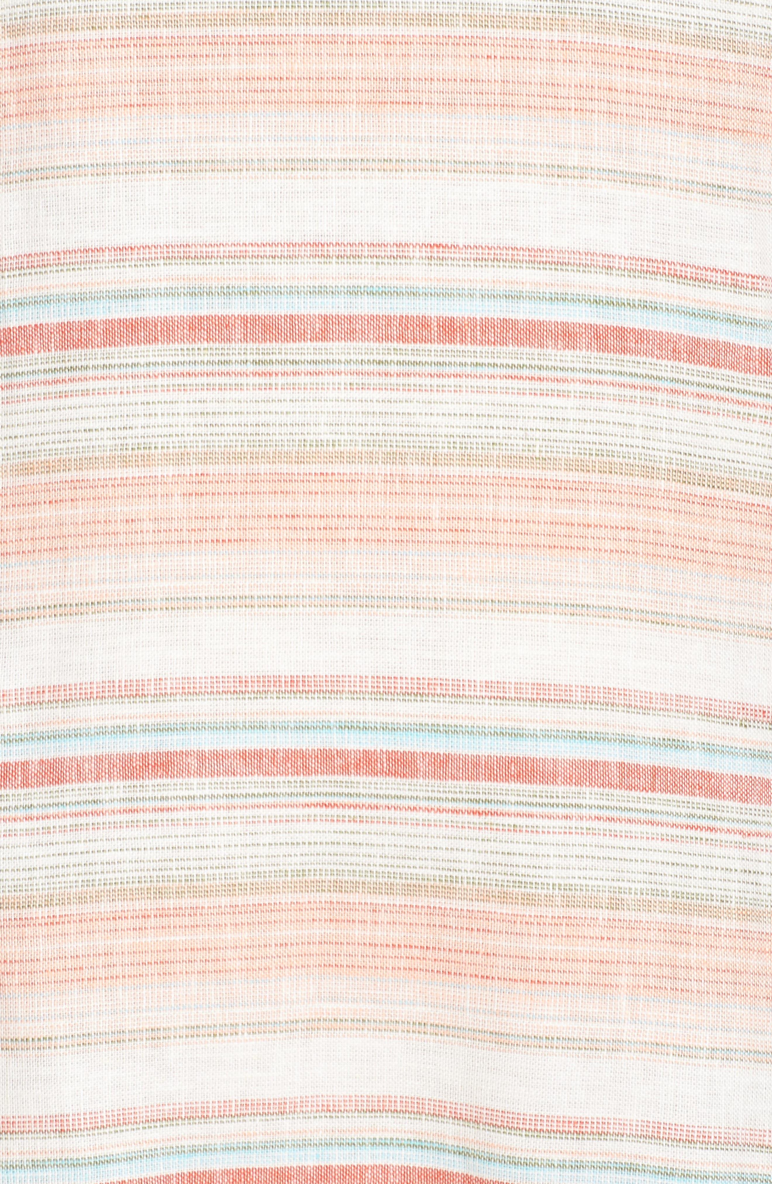 Raw Edge Stripe Linen Blend Dress,                             Alternate thumbnail 5, color,                             Coral Stripe