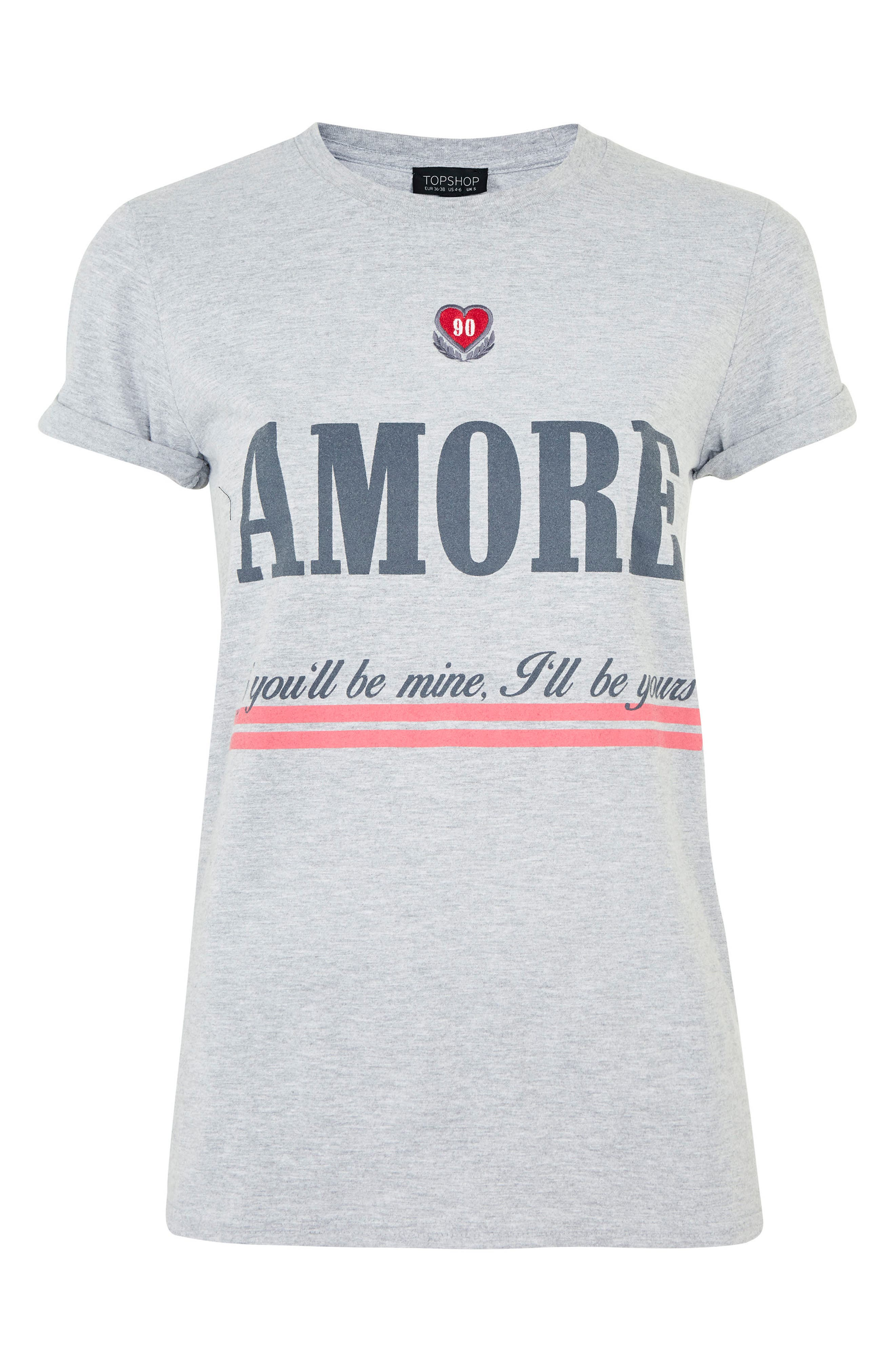 Embroidered Amore Graphic Tee,                             Alternate thumbnail 3, color,                             Grey Marl