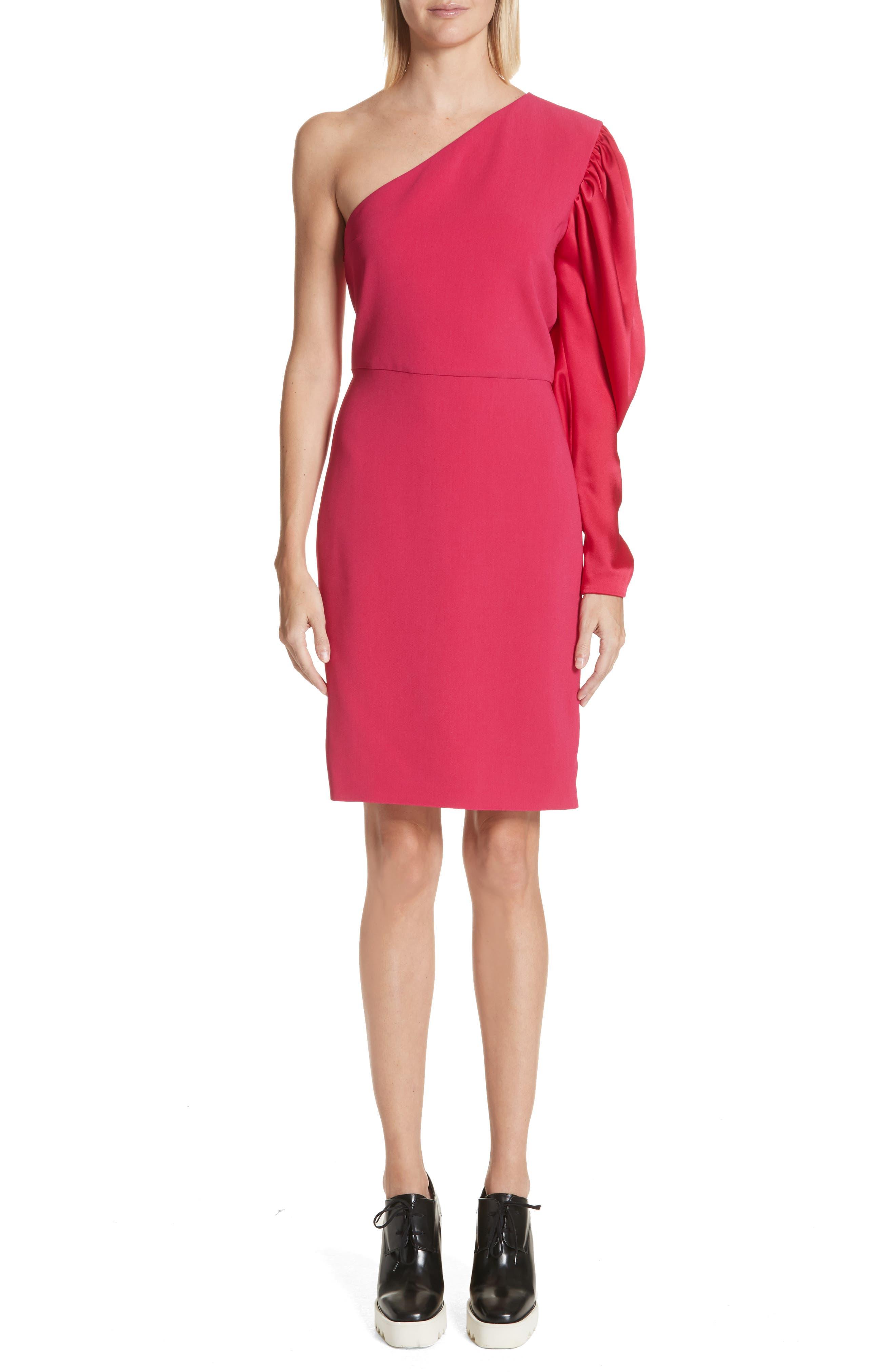 One-Shoulder Puff Sleeve Cady Dress,                         Main,                         color, Bubble Gum