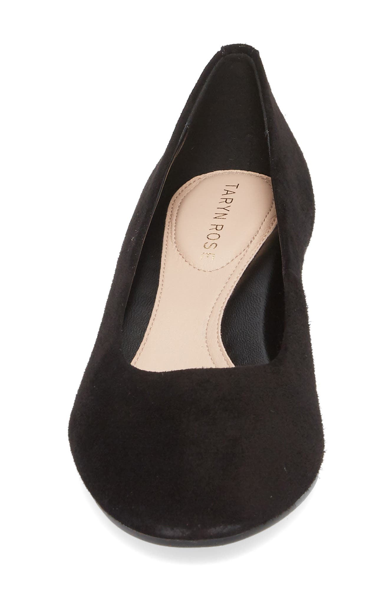 Babs Wedge Pump,                             Alternate thumbnail 4, color,                             Black Suede