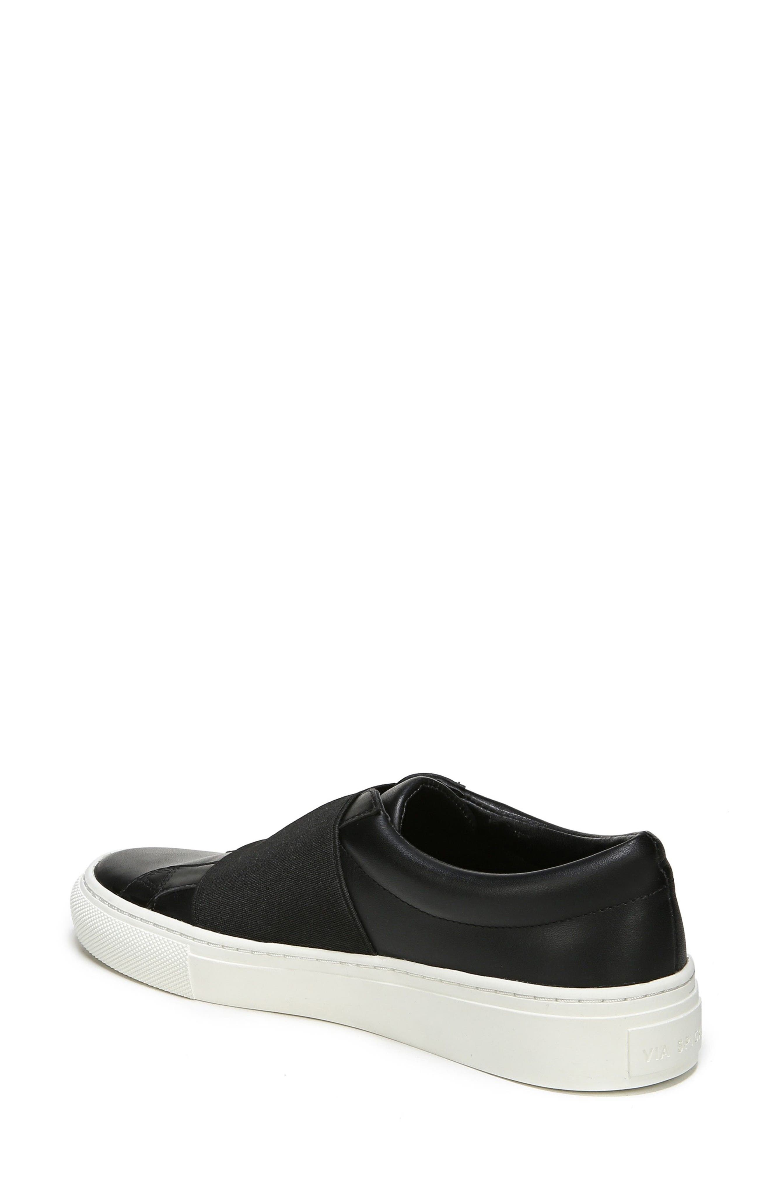 Saran Slip-On Sneaker,                             Alternate thumbnail 2, color,                             Black/ Black Leather