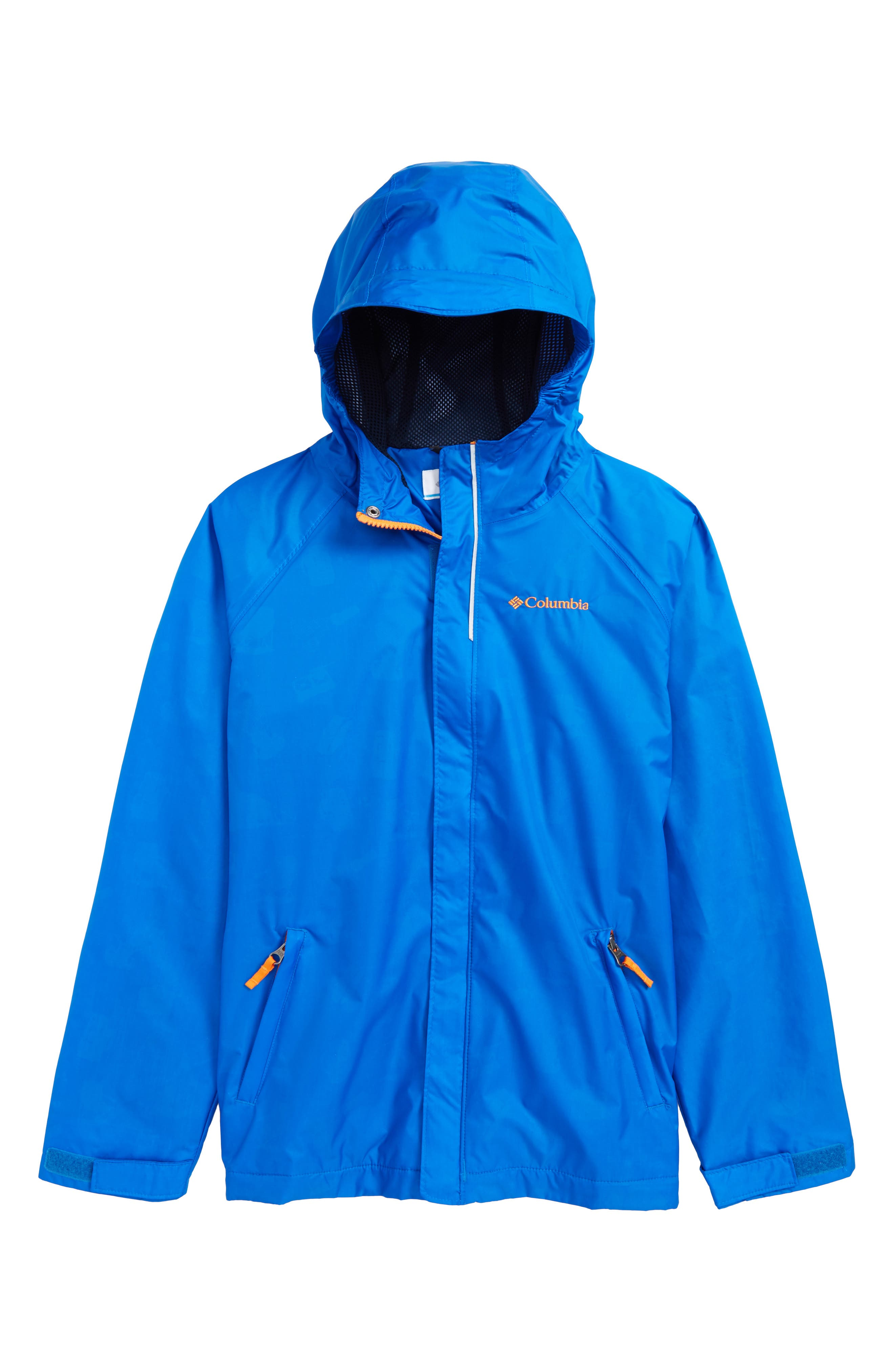 'Fast & Curious<sup>™</sup>' Waterproof Hooded Jacket,                         Main,                         color, Super Blue Campin Invizzaprint