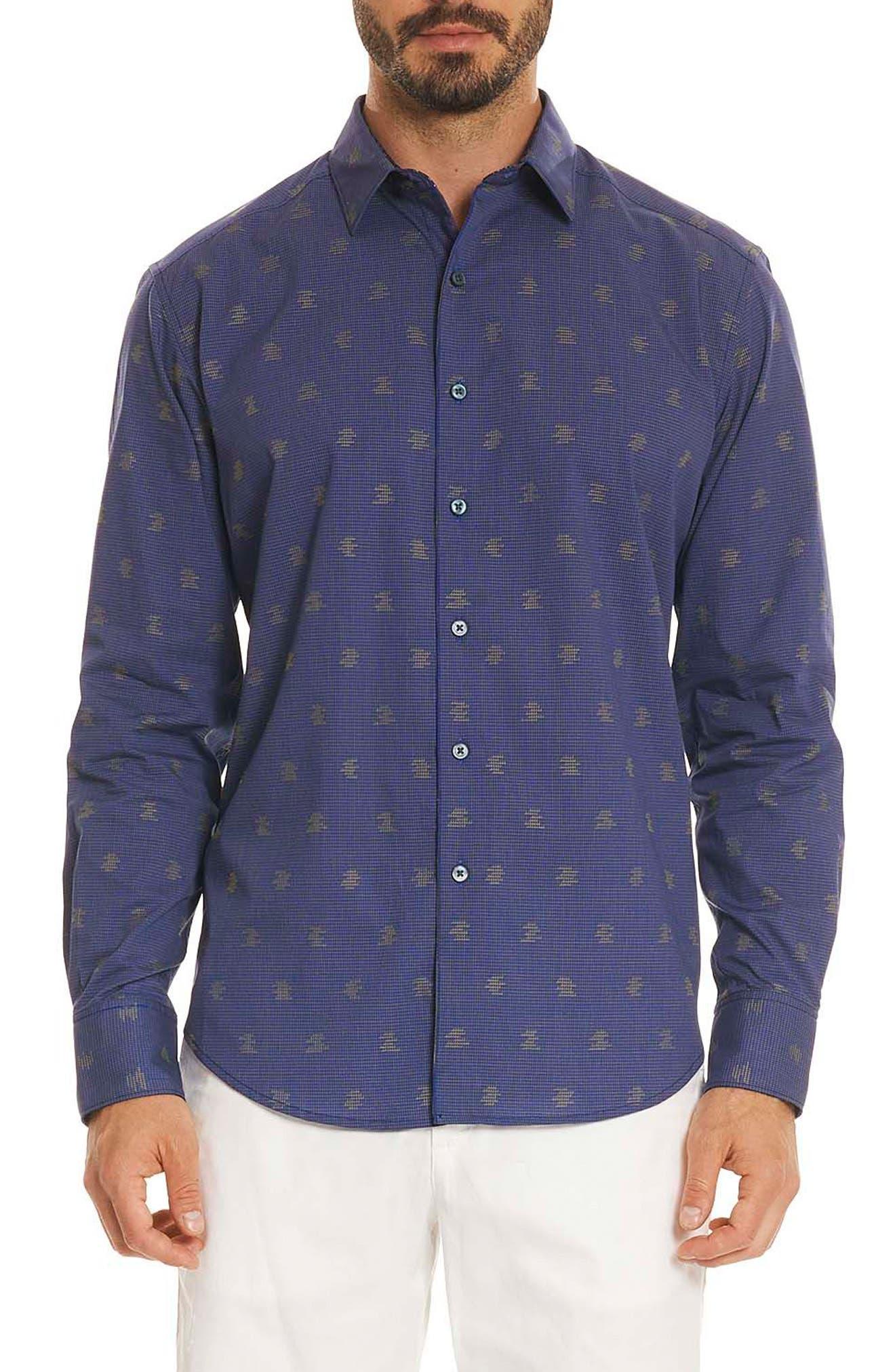 Vidin Regular Fit Jacquard Dot Sport Shirt,                             Main thumbnail 1, color,                             Blue