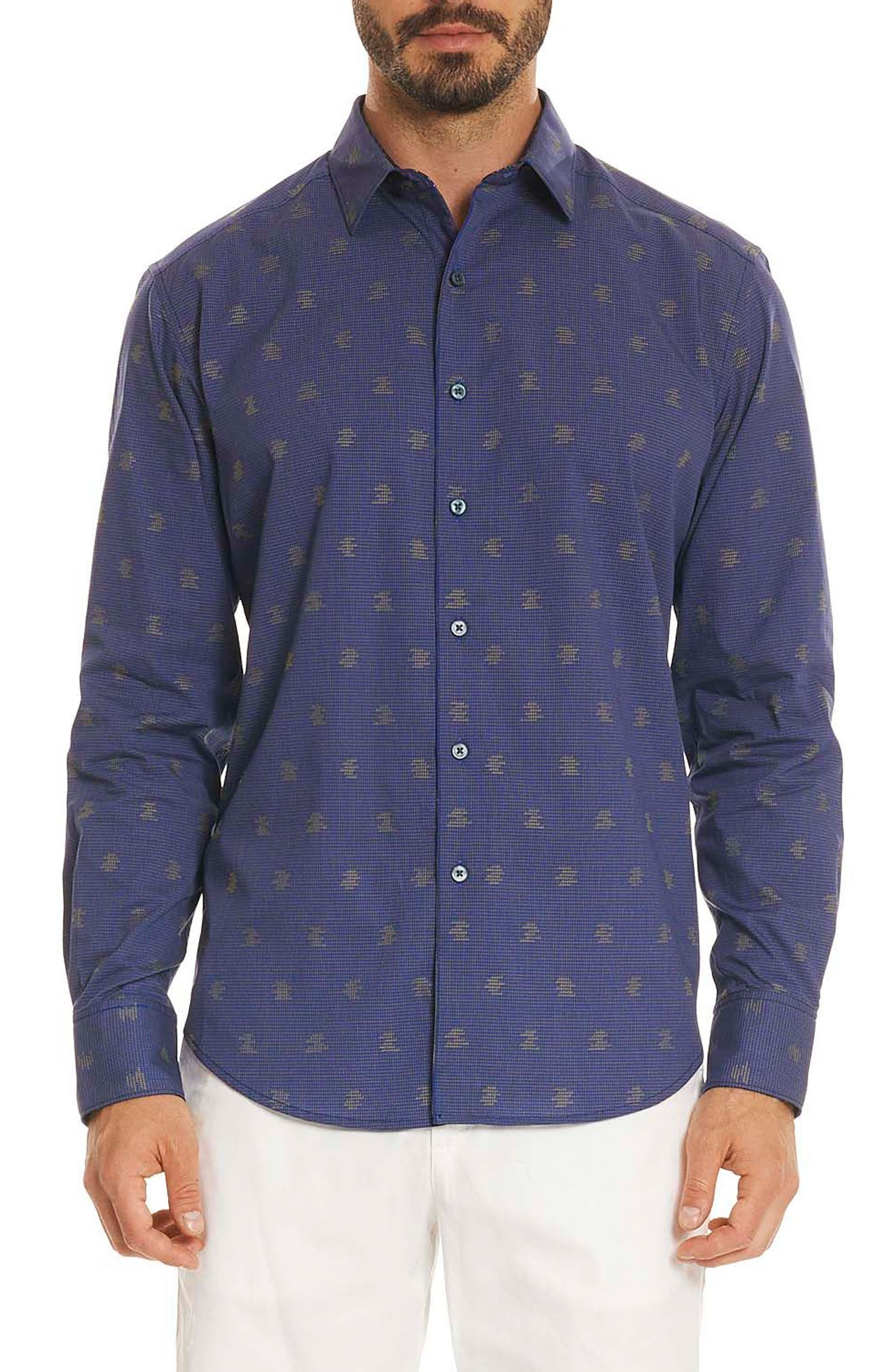 Vidin Regular Fit Jacquard Dot Sport Shirt,                         Main,                         color, Blue