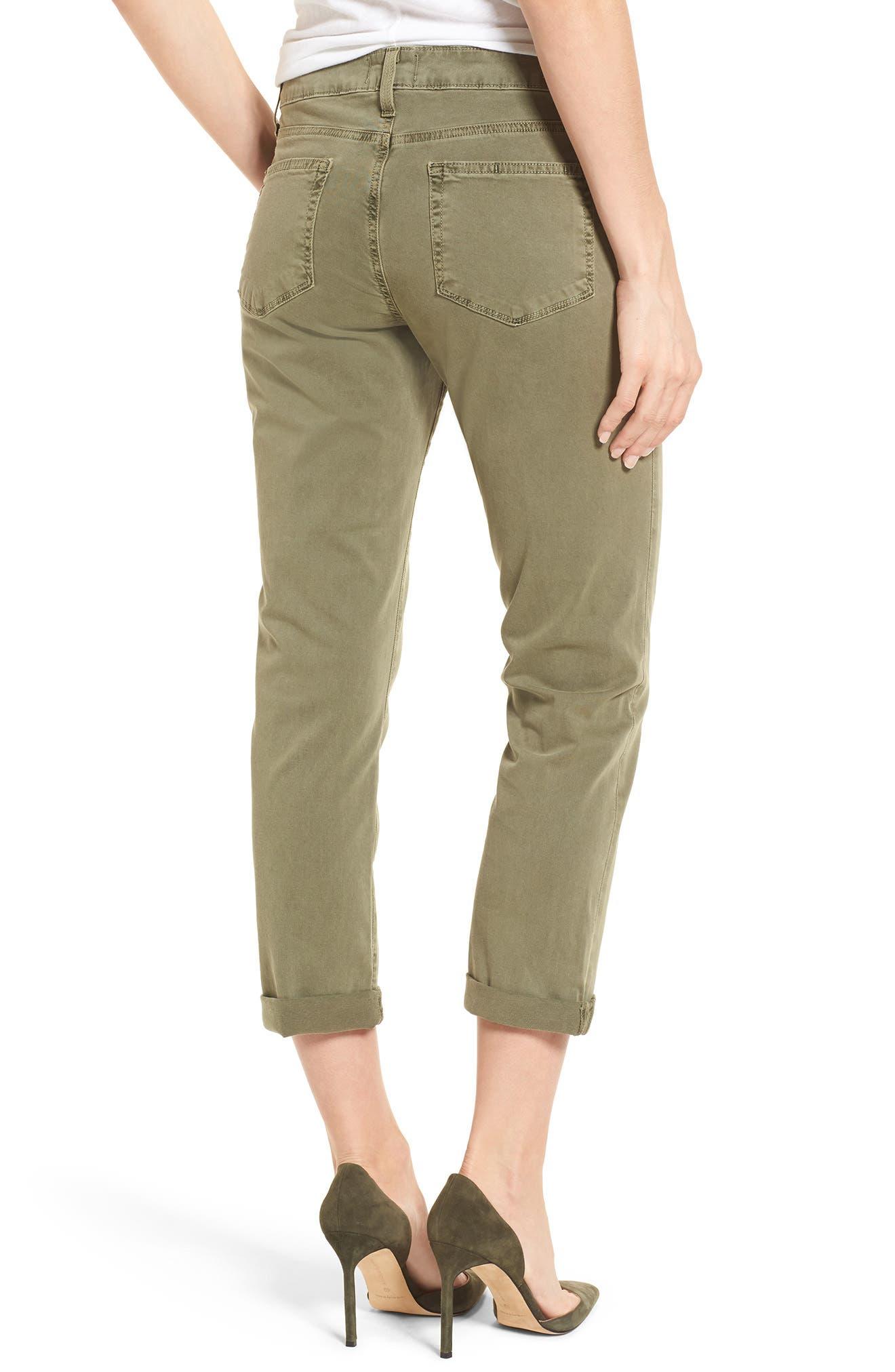 Brigitte Crop Boyfriend Jeans,                             Alternate thumbnail 2, color,                             Vintage Green