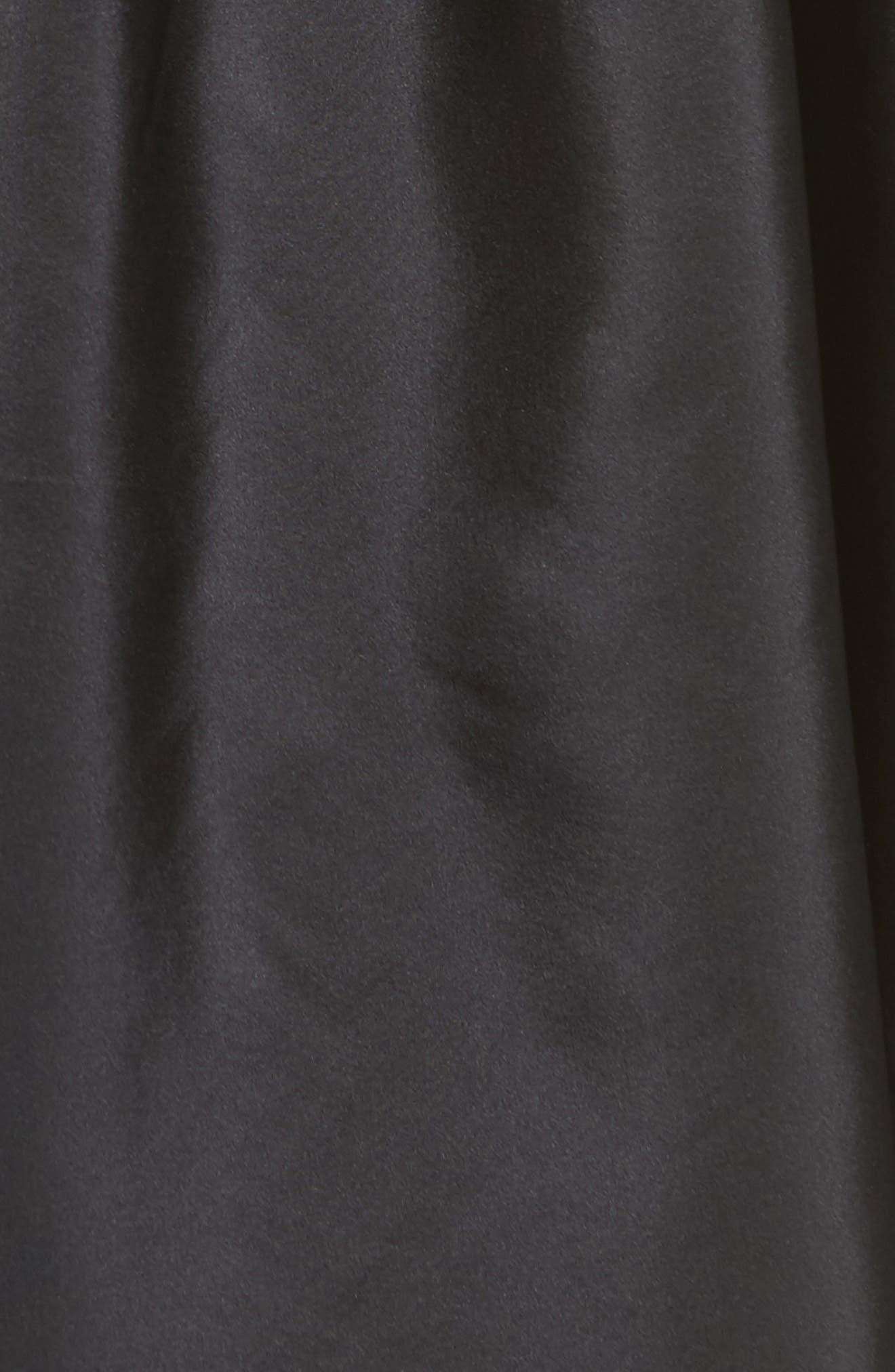 Belted Off the Shoulder Taffeta Dress,                             Alternate thumbnail 6, color,                             Black