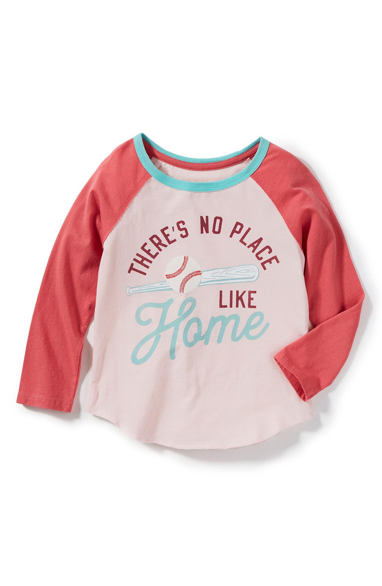 No Place Like Home Baseball Tee,                             Main thumbnail 1, color,                             Coral