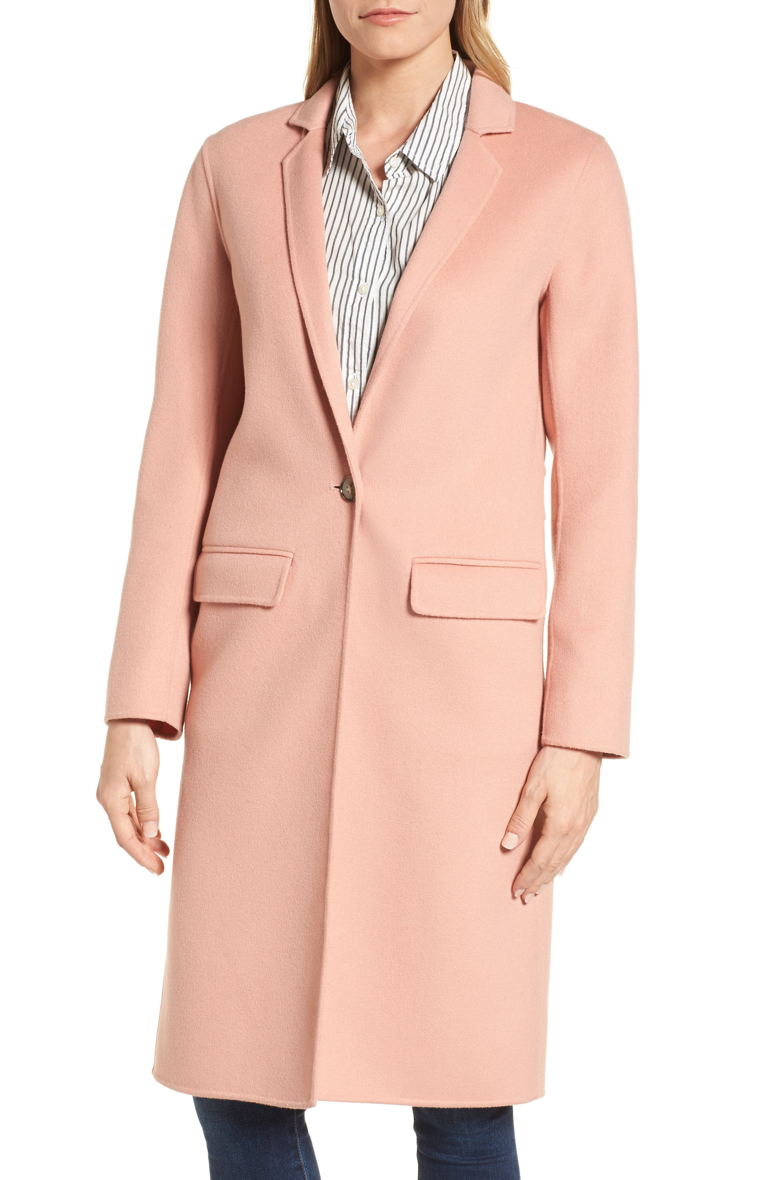 Double-Face Wool Jacket,                             Main thumbnail 1, color,                             Peach