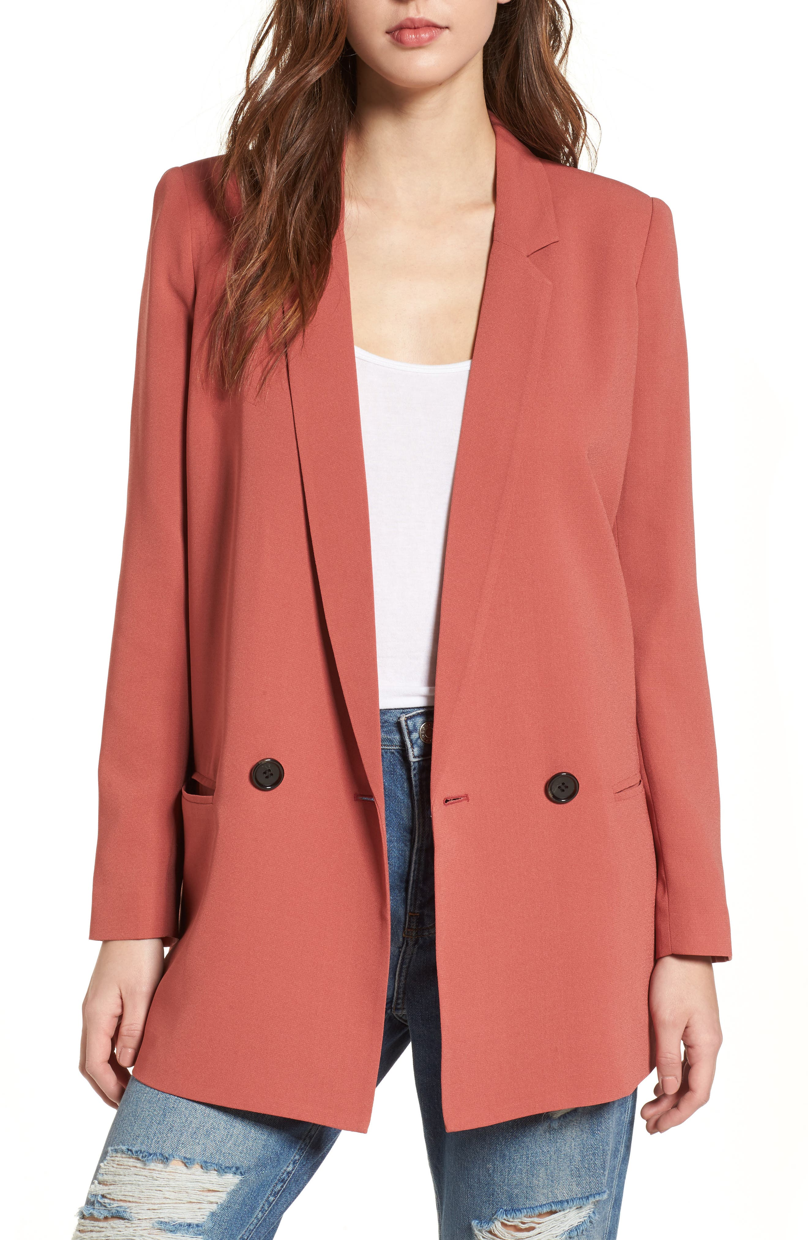 Oversize Blazer,                         Main,                         color, Rust Marsala