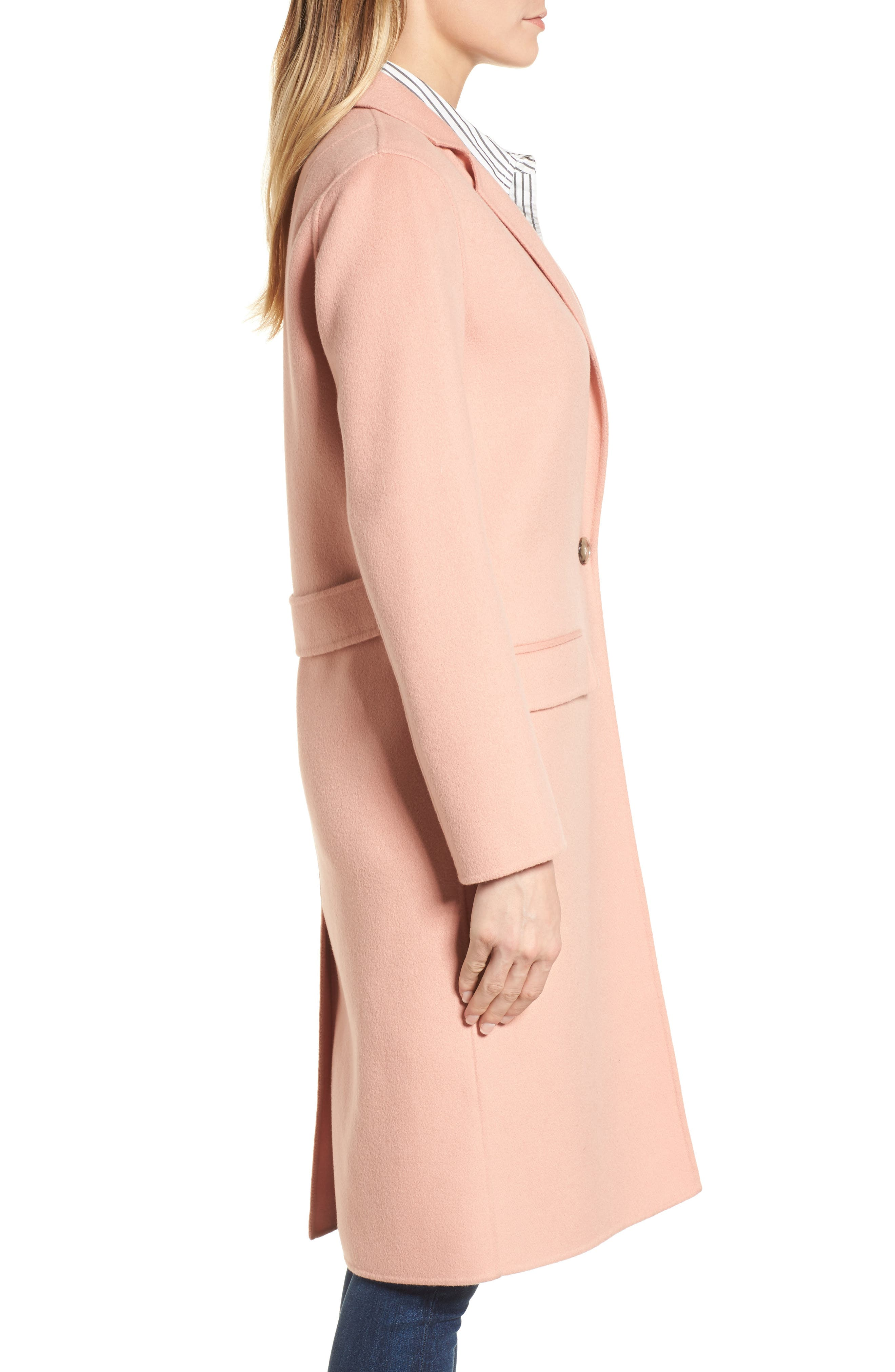 Double-Face Wool Jacket,                             Alternate thumbnail 3, color,                             Peach