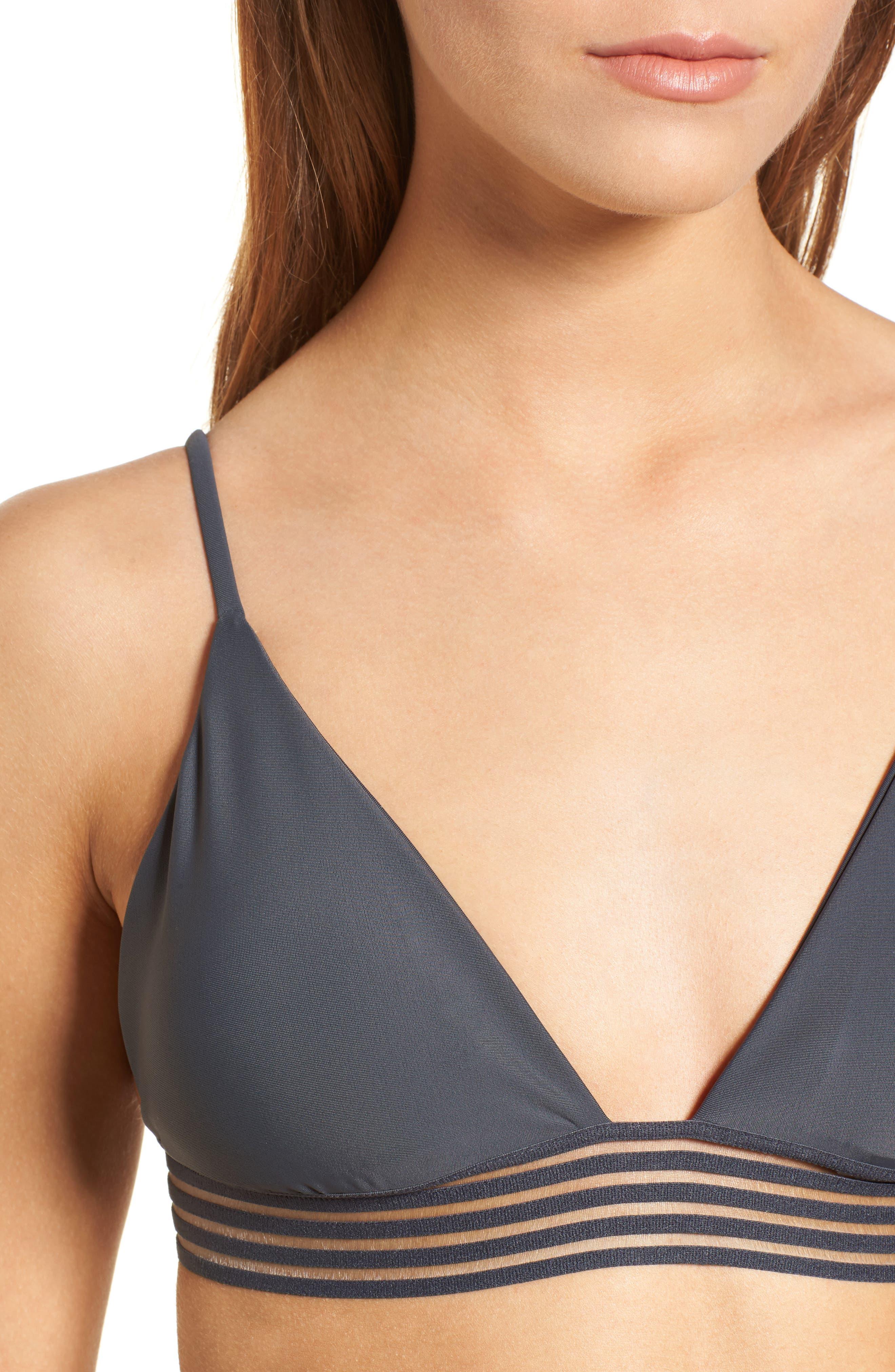 Illusion Fixed Triangle Bikini Top,                             Alternate thumbnail 2, color,                             Dark Grey