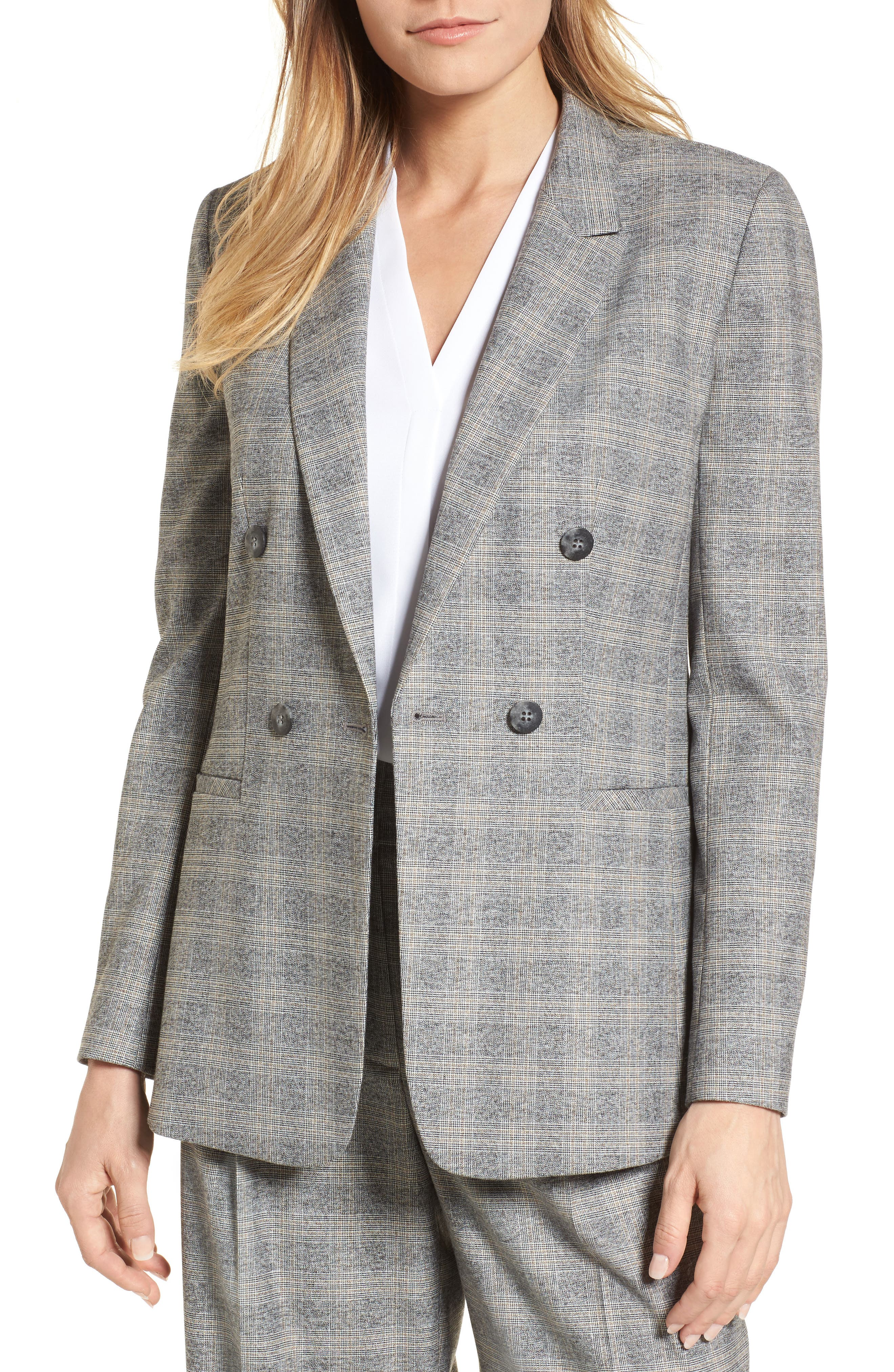 Check Plaid Suit Jacket,                             Main thumbnail 1, color,                             Grey Check