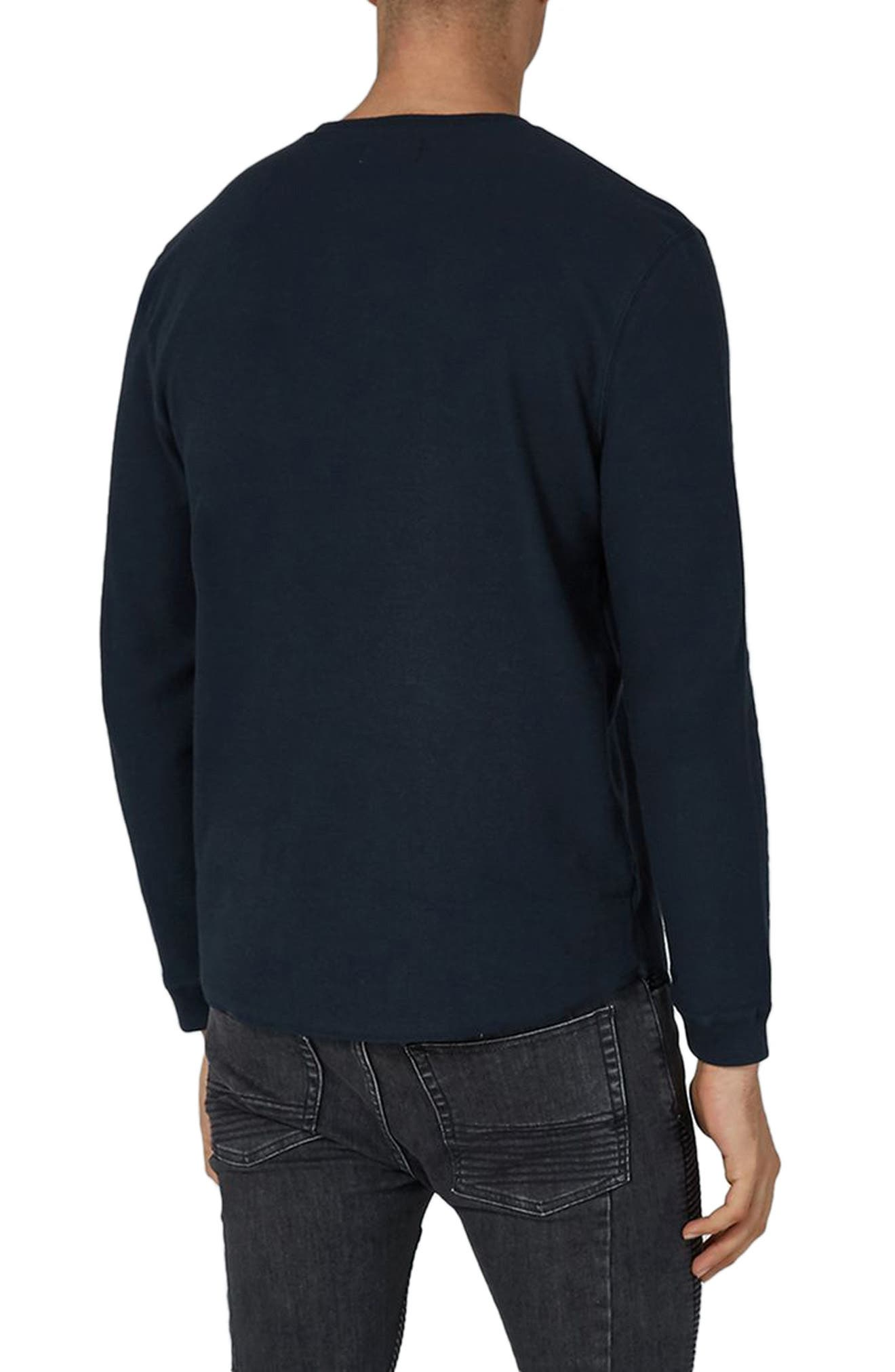 Waffle Knit Long Sleeve T-Shirt,                             Alternate thumbnail 2, color,                             Dark Blue