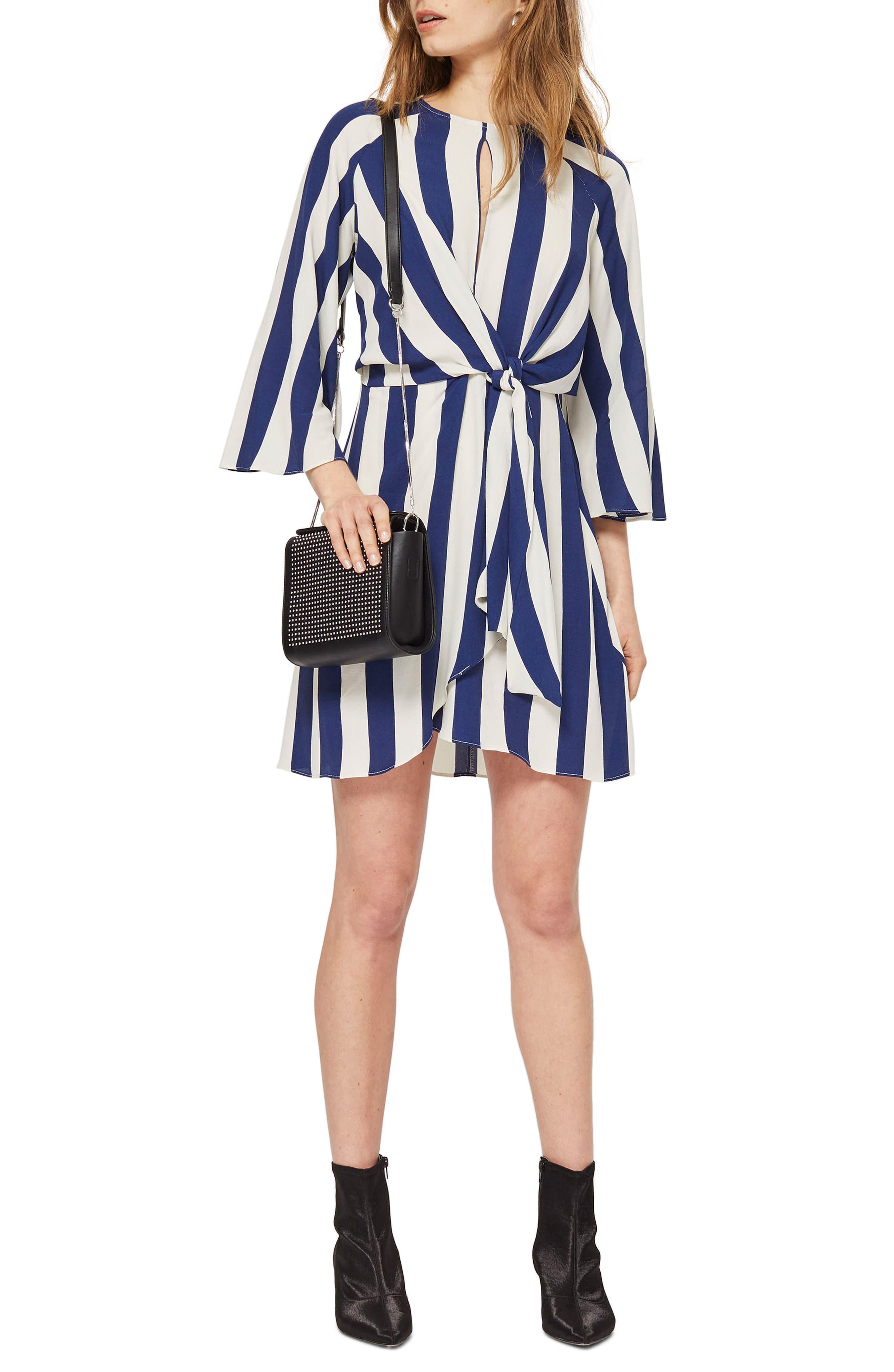 Humbug Stripe Knot Dress,                             Main thumbnail 1, color,                             Blue Multi