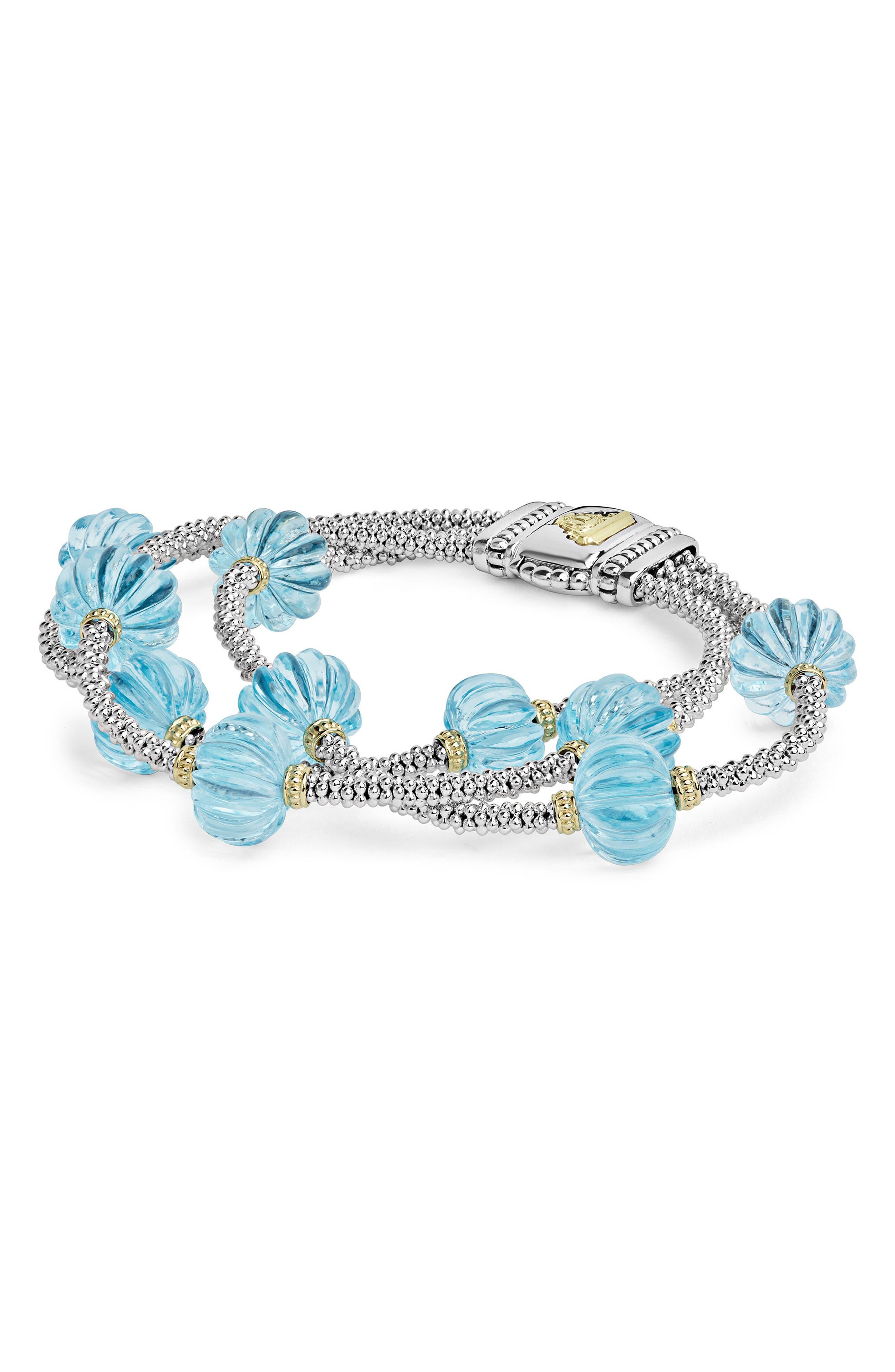 Caviar Forever Triple Strand Melon Bead Bracelet,                             Alternate thumbnail 2, color,                             Silver/ Sky Blue Topaz