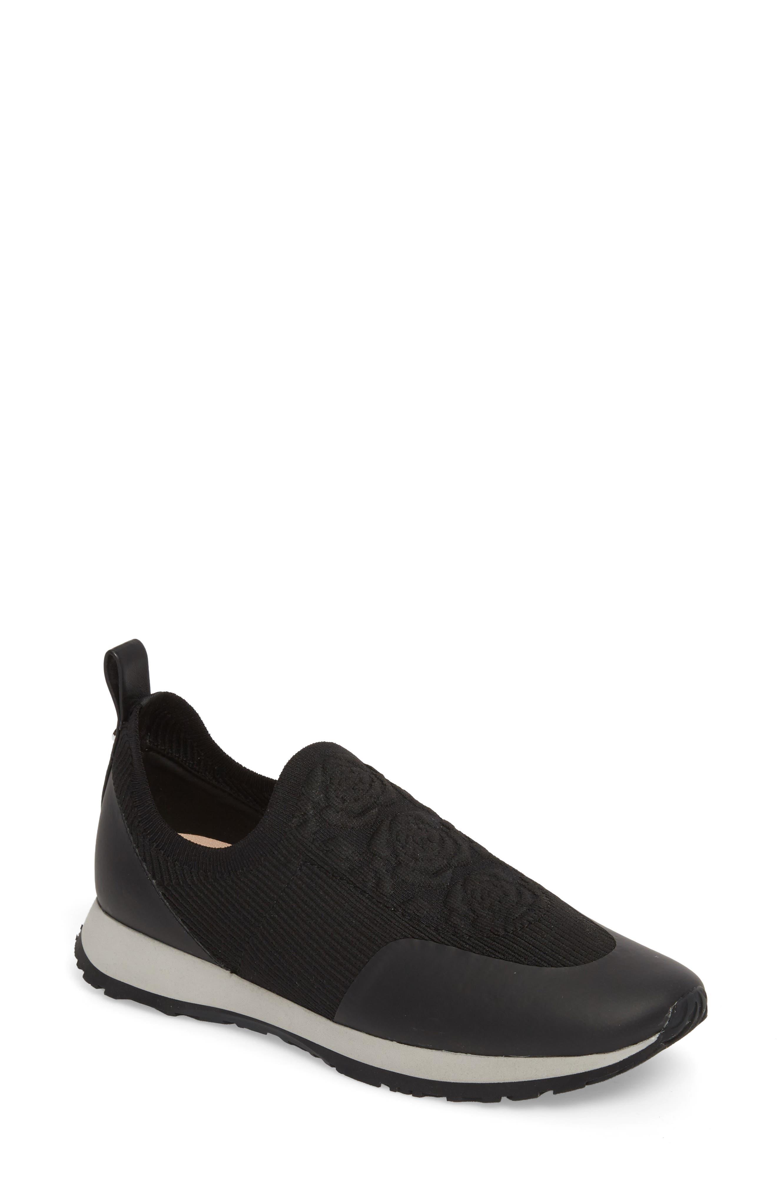Cara Slip-On Sneaker,                             Main thumbnail 1, color,                             Black Fabric
