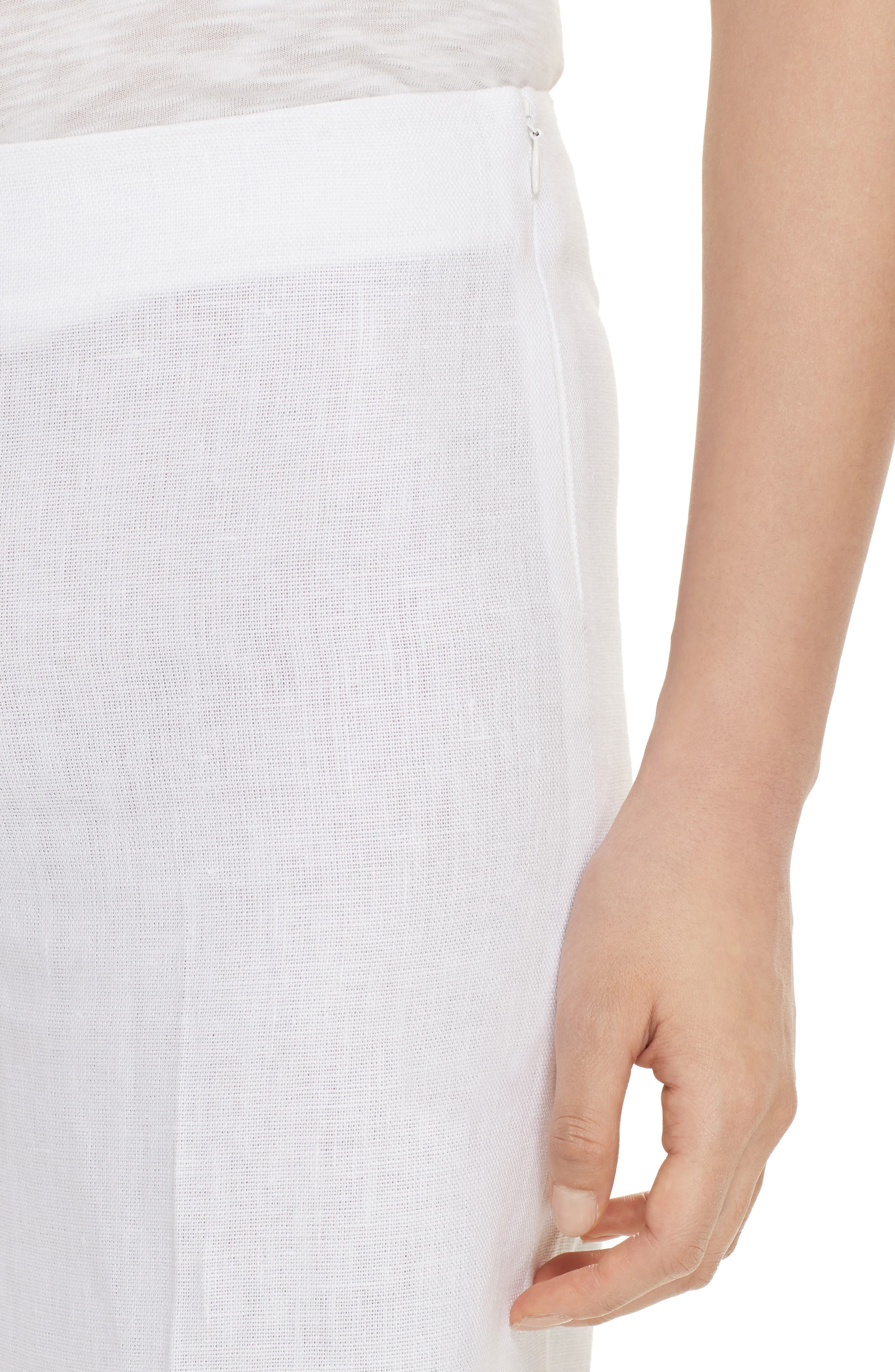 Terena B Linen Wide Leg Pants,                             Alternate thumbnail 4, color,                             White