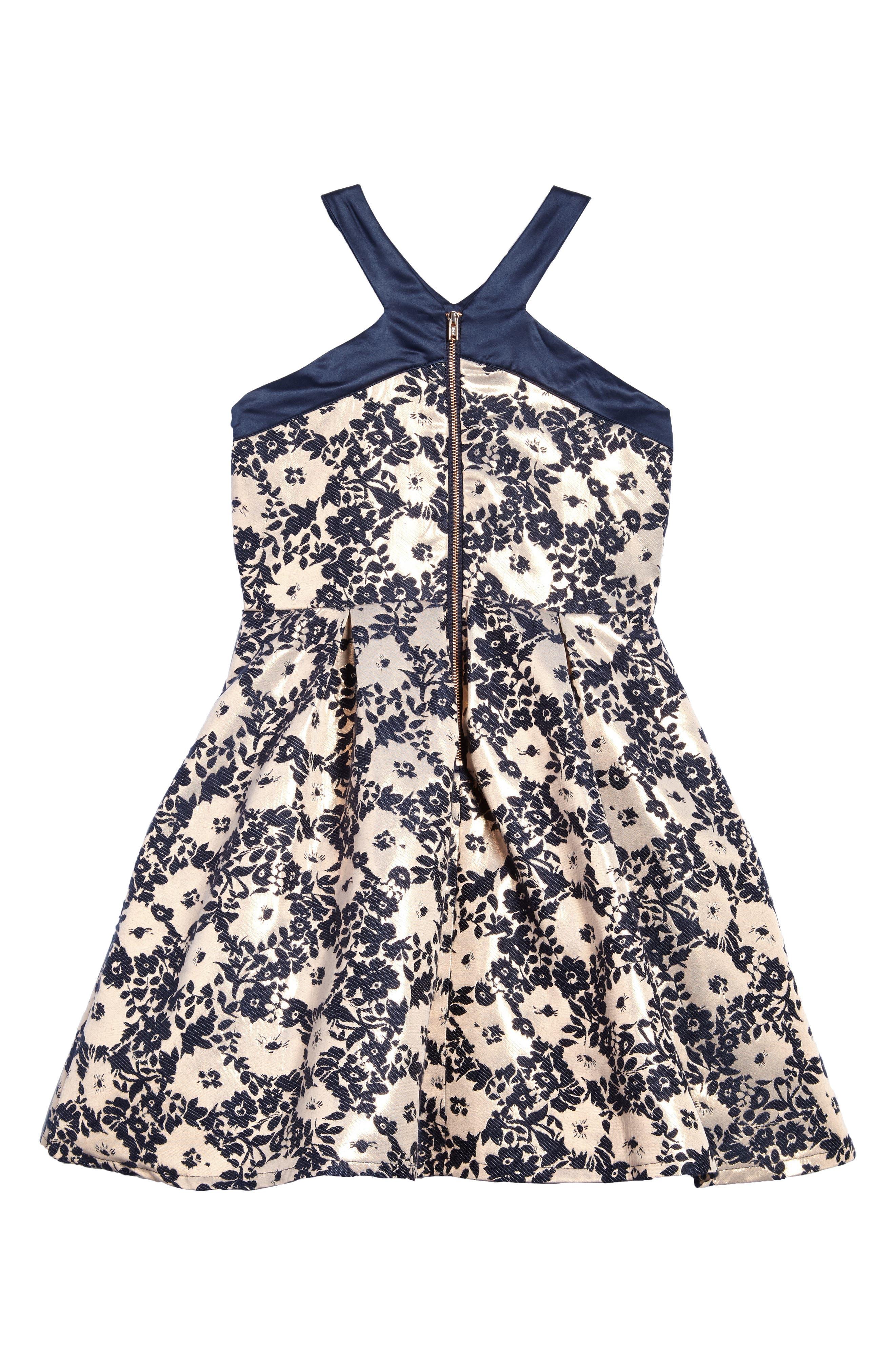 Alternate Image 2  - BLUSH by Us Angels Floral Brocade Fit & Flare Dress (Big Girls)