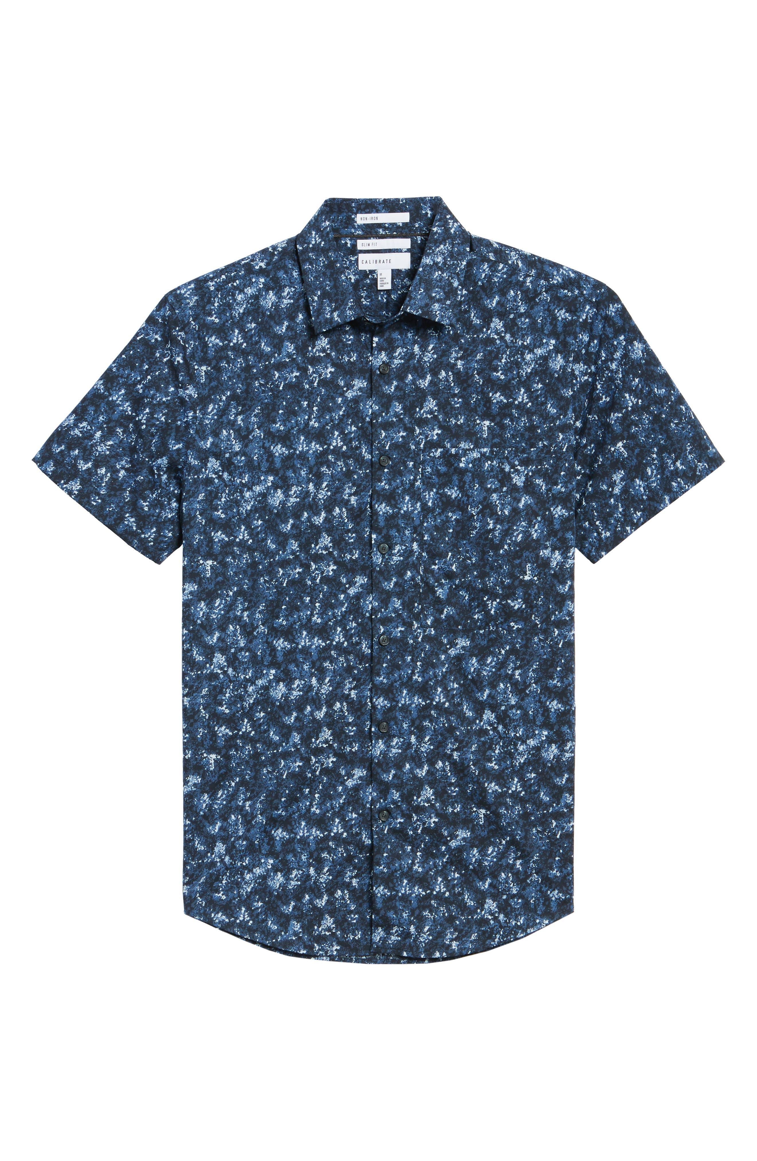 Print Sport Shirt,                             Alternate thumbnail 6, color,                             Blue Navy Crinkle