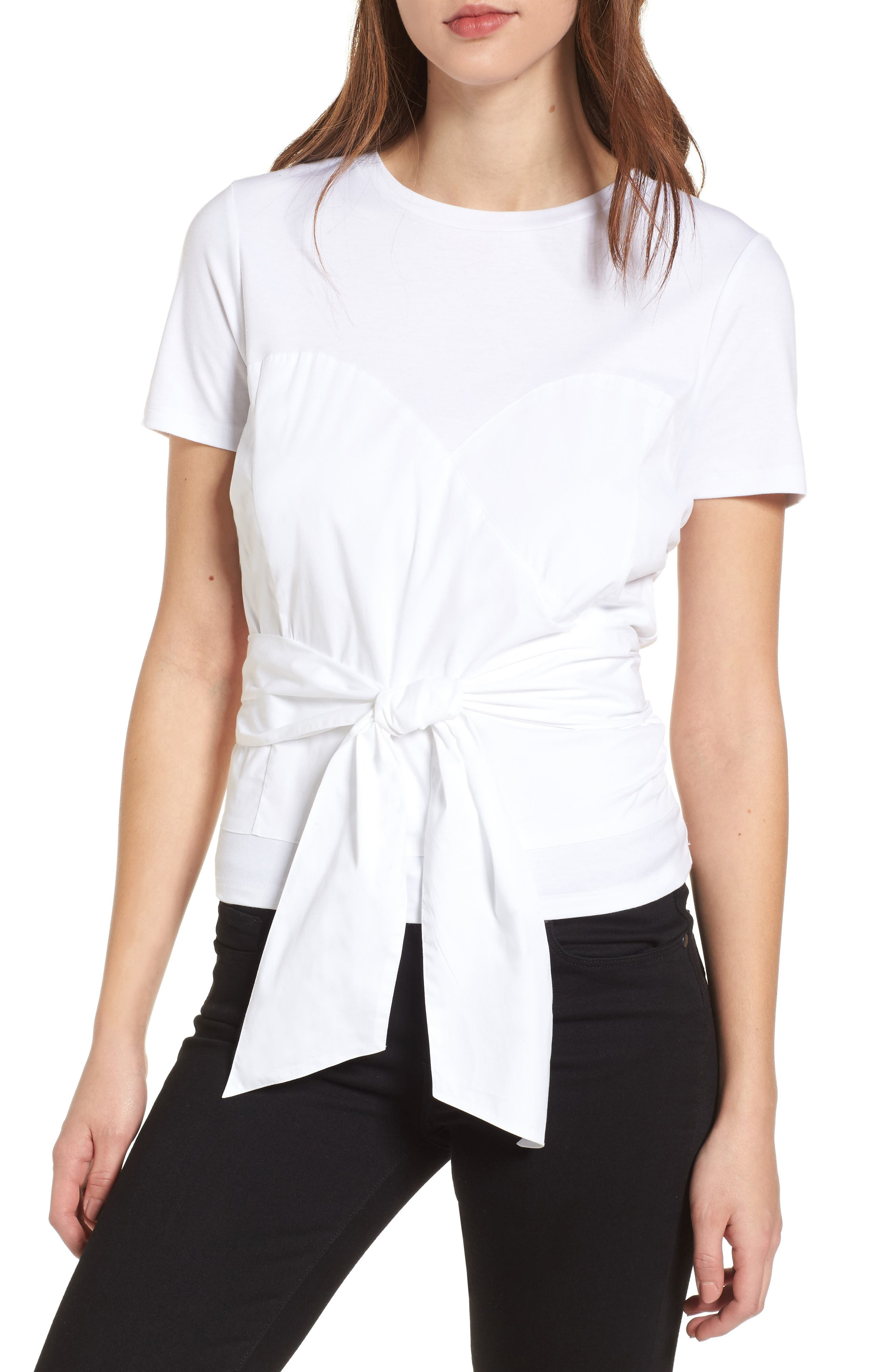 Poplin Mix Tie Waist Bustier Top,                         Main,                         color, White