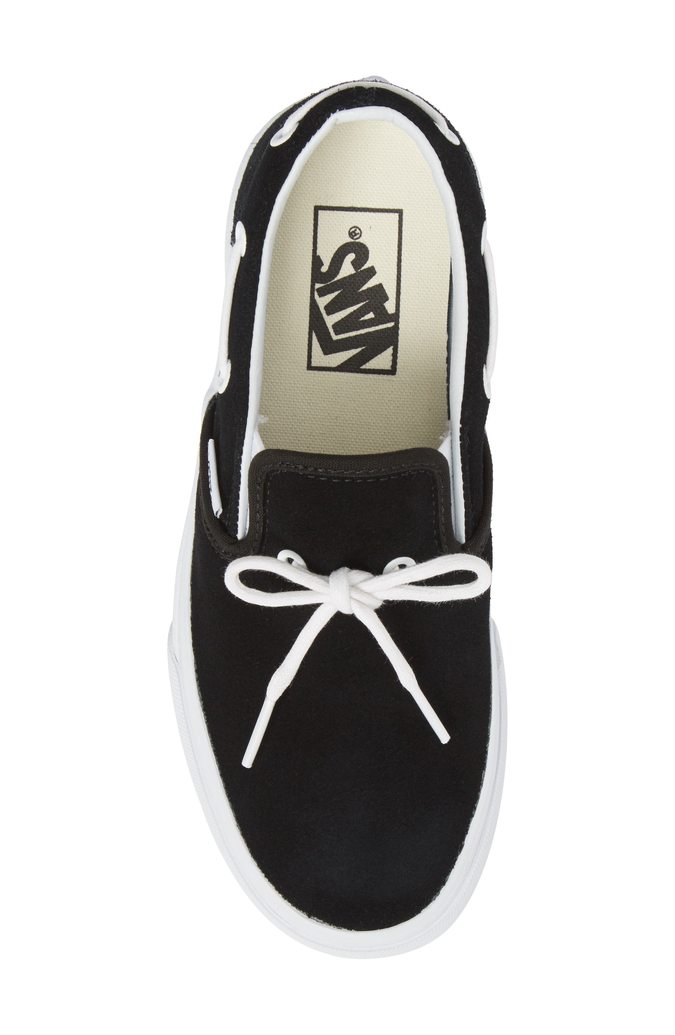 UA Lacey 72 Slip-On Boat Sneaker,                             Alternate thumbnail 5, color,                             Black Leather