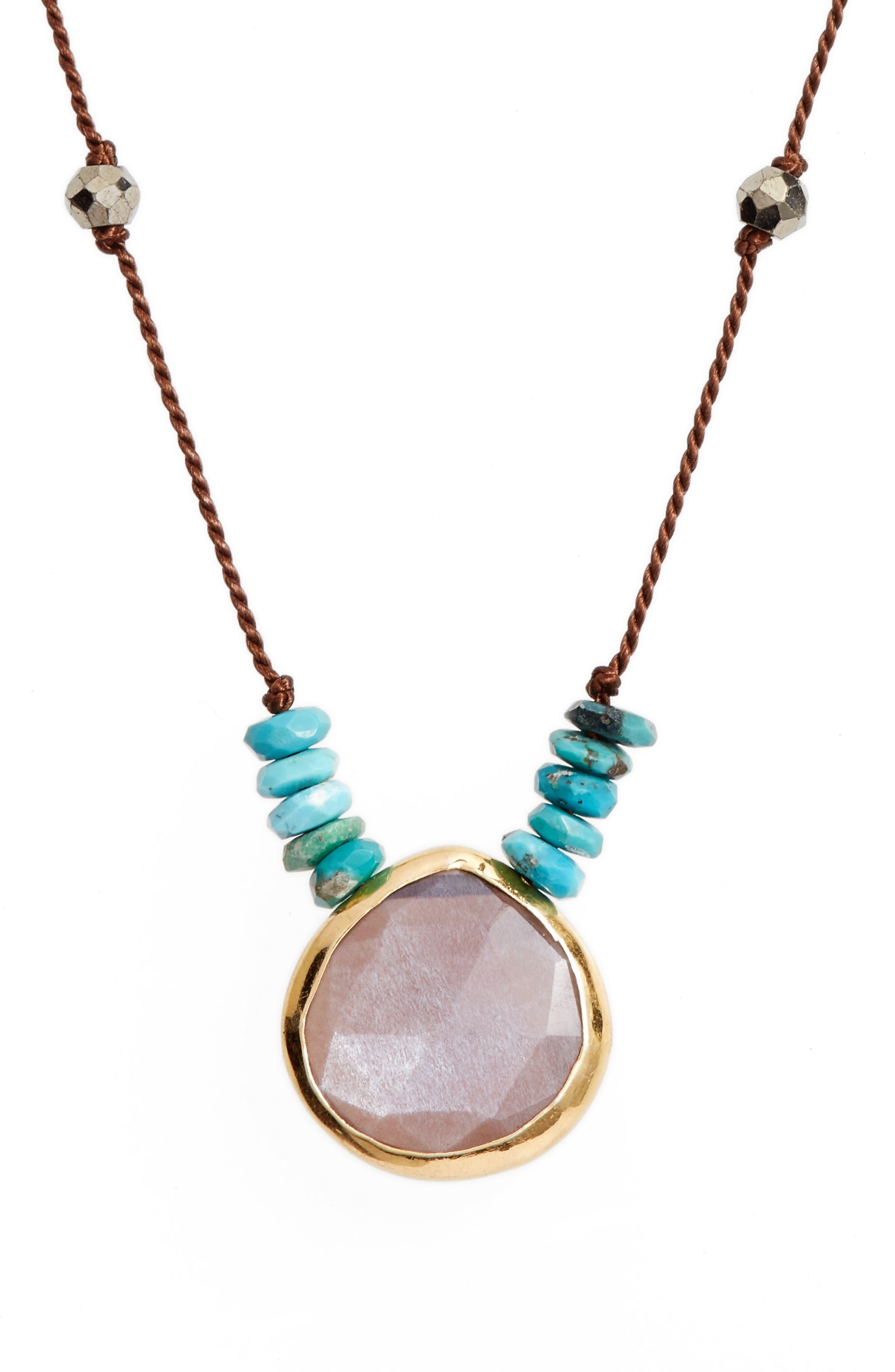 Sylvie Semiprecious Stone Necklace,                             Alternate thumbnail 2, color,                             Brown