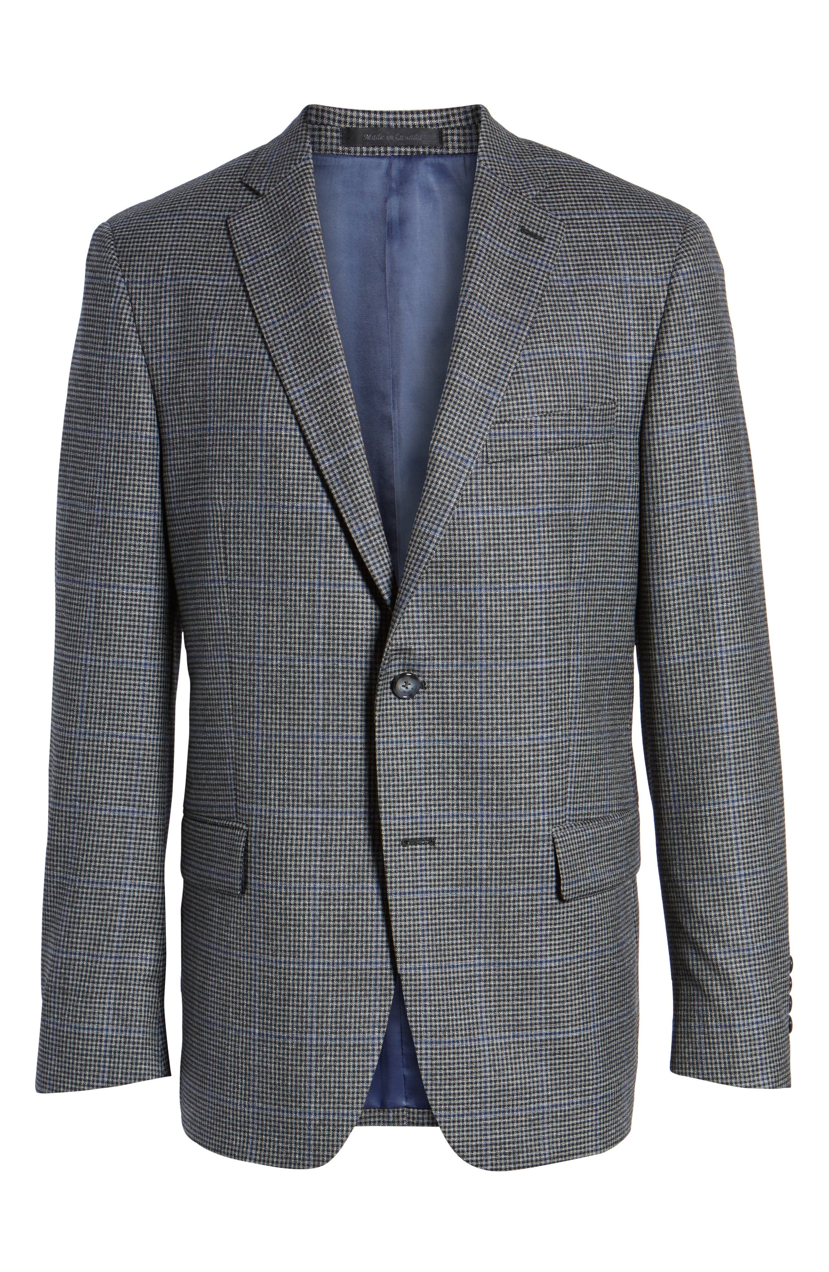 Classic Fit Stretch Check Wool Sport Coat,                             Alternate thumbnail 6, color,                             Grey
