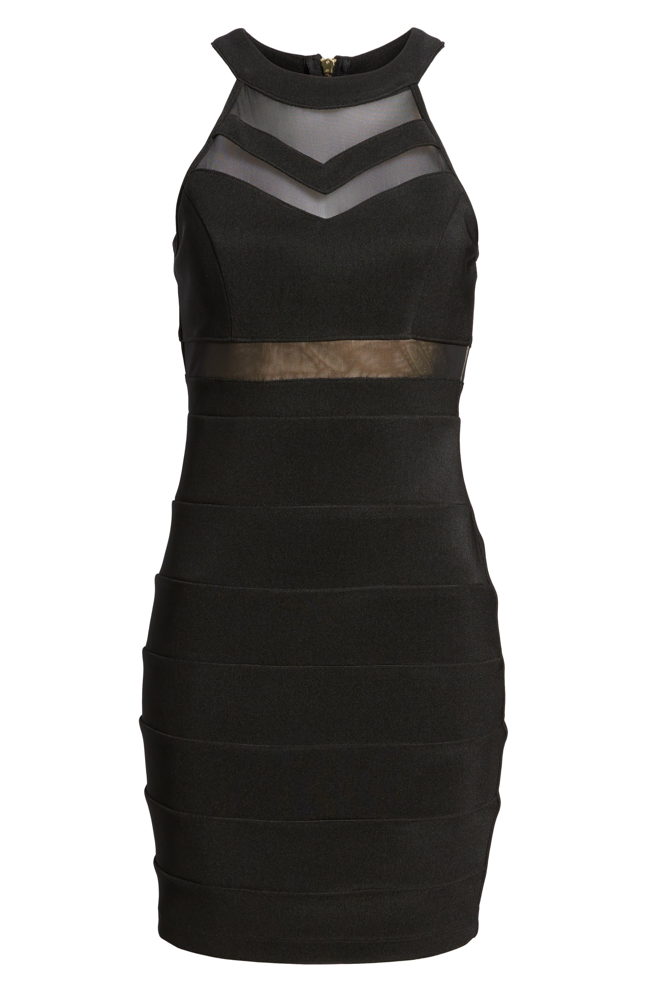 Illusion Body-Con Dress,                             Alternate thumbnail 7, color,                             Black