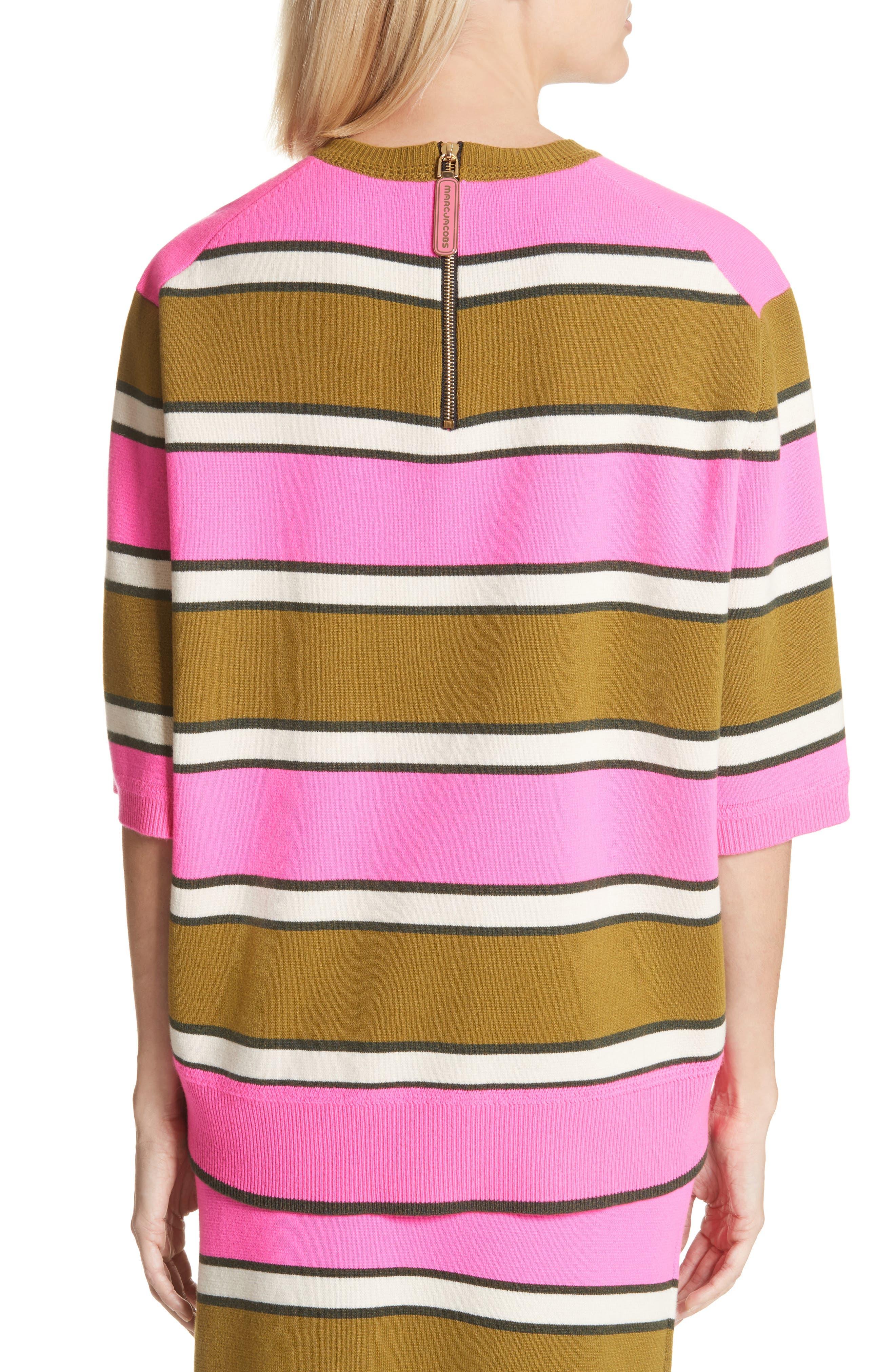Oversize Stripe Cashmere Sweater,                             Alternate thumbnail 2, color,                             Pink Multi