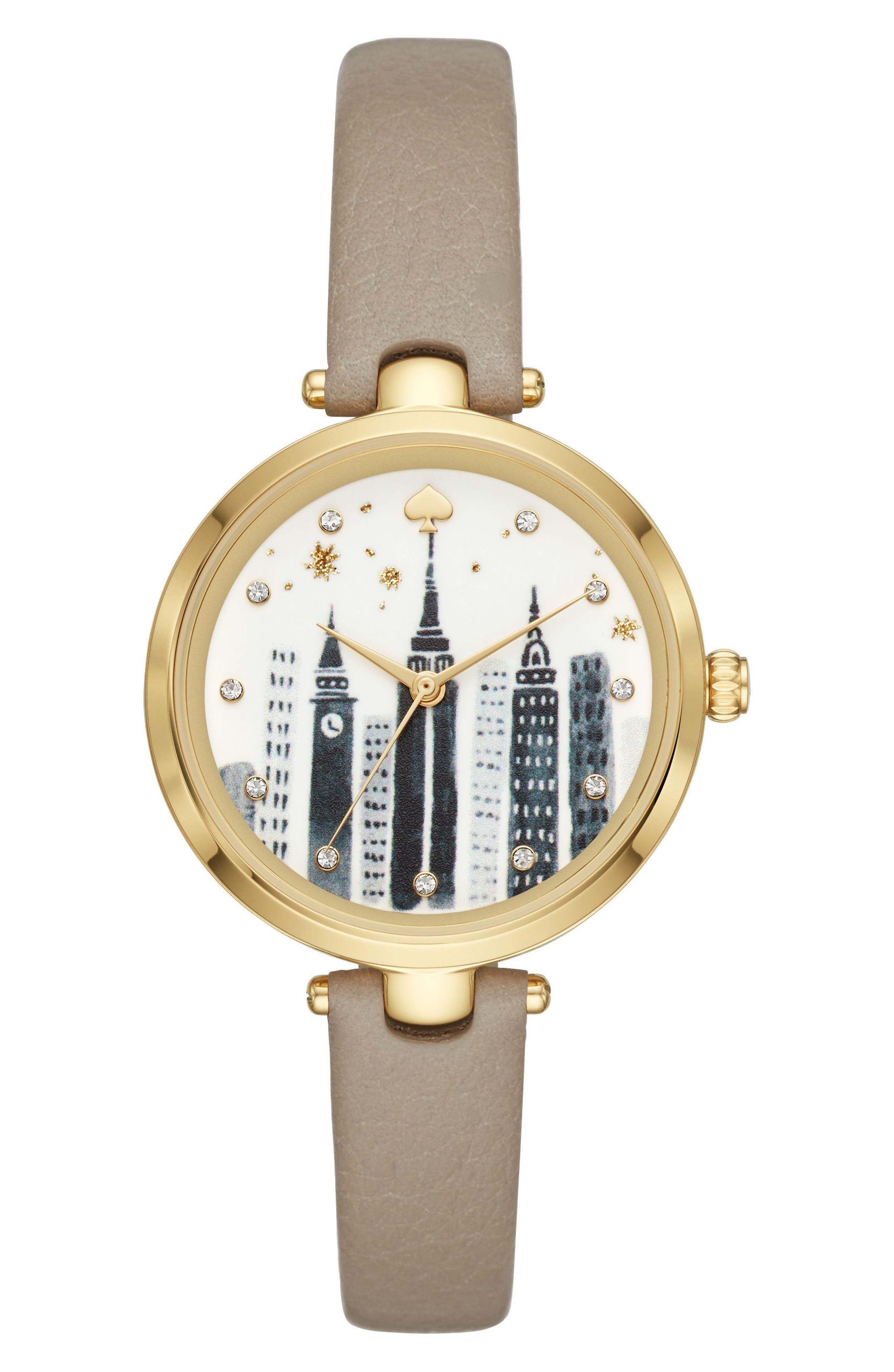 kate spade new york holland skyline leather strap watch, 34mm