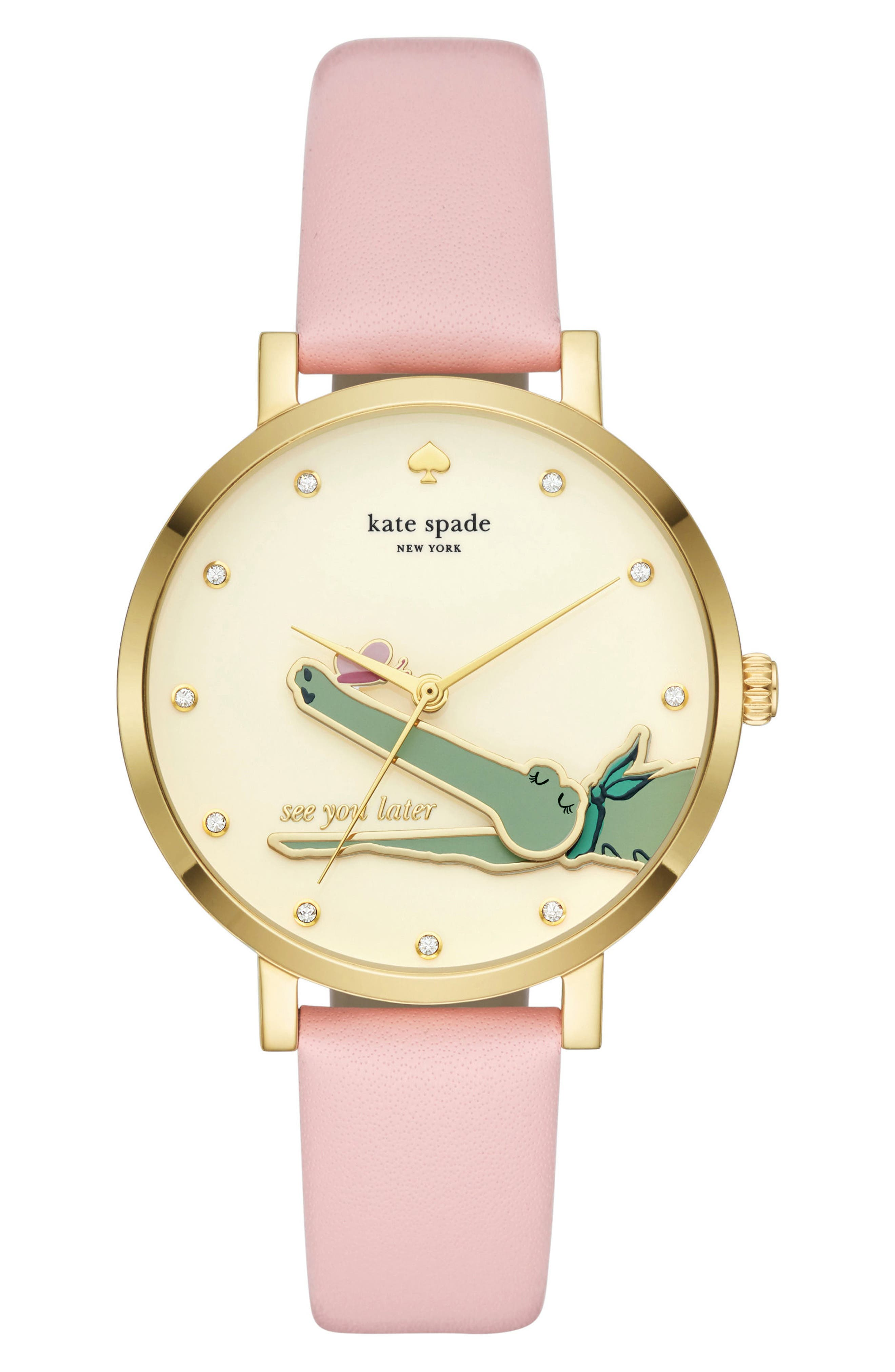 monterey alligator leather strap watch, 38mm,                             Main thumbnail 1, color,                             Pink/ Beige/ Gold