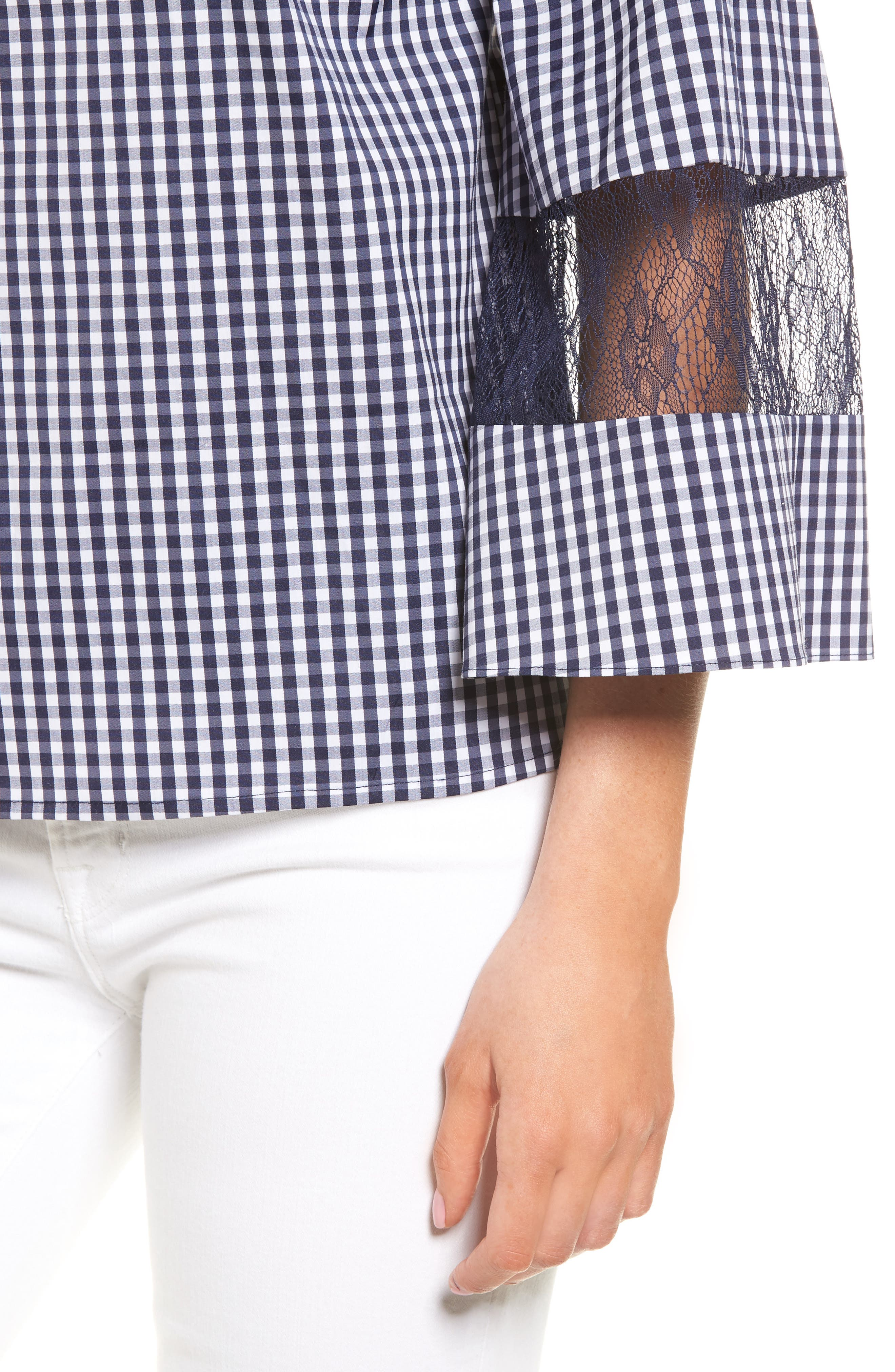 Gingham & Lace Blouse,                             Alternate thumbnail 4, color,                             Navy Evening- White Gingham