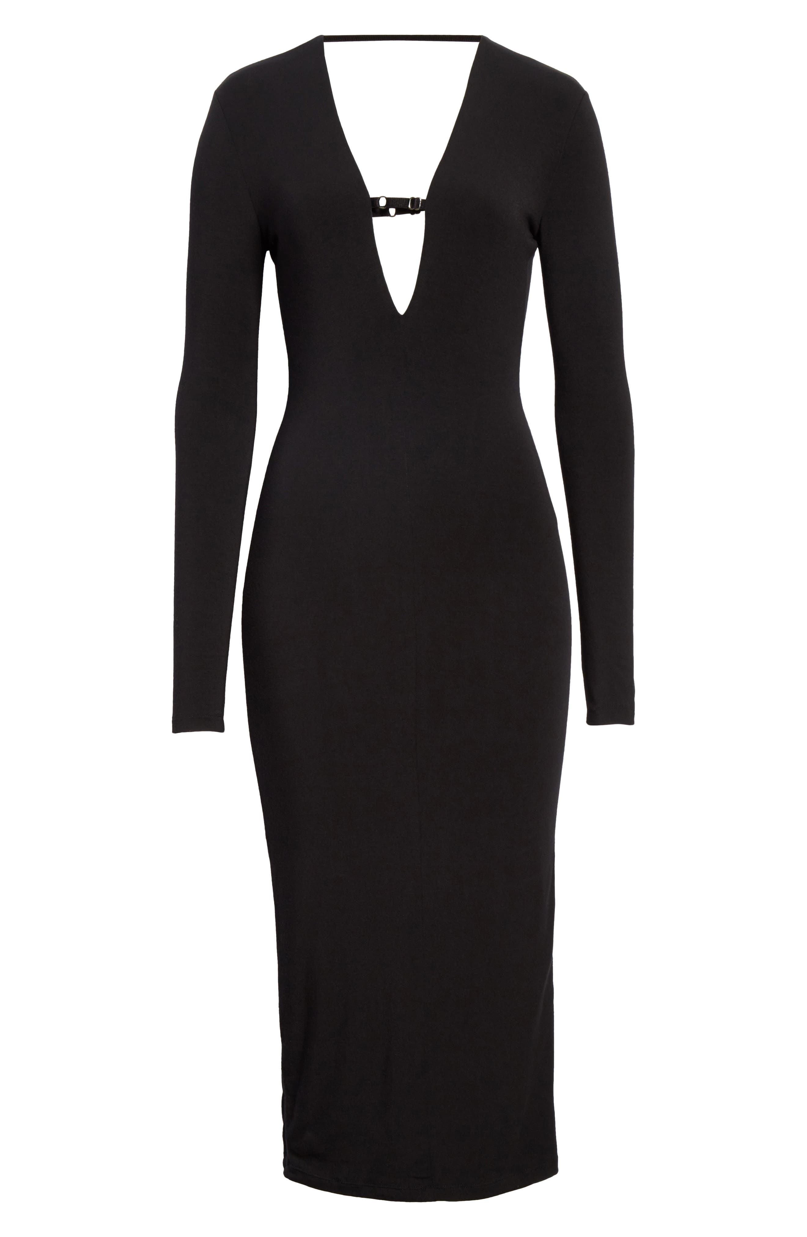 Keyhole Neck Body-Con Dress,                             Alternate thumbnail 6, color,                             Black