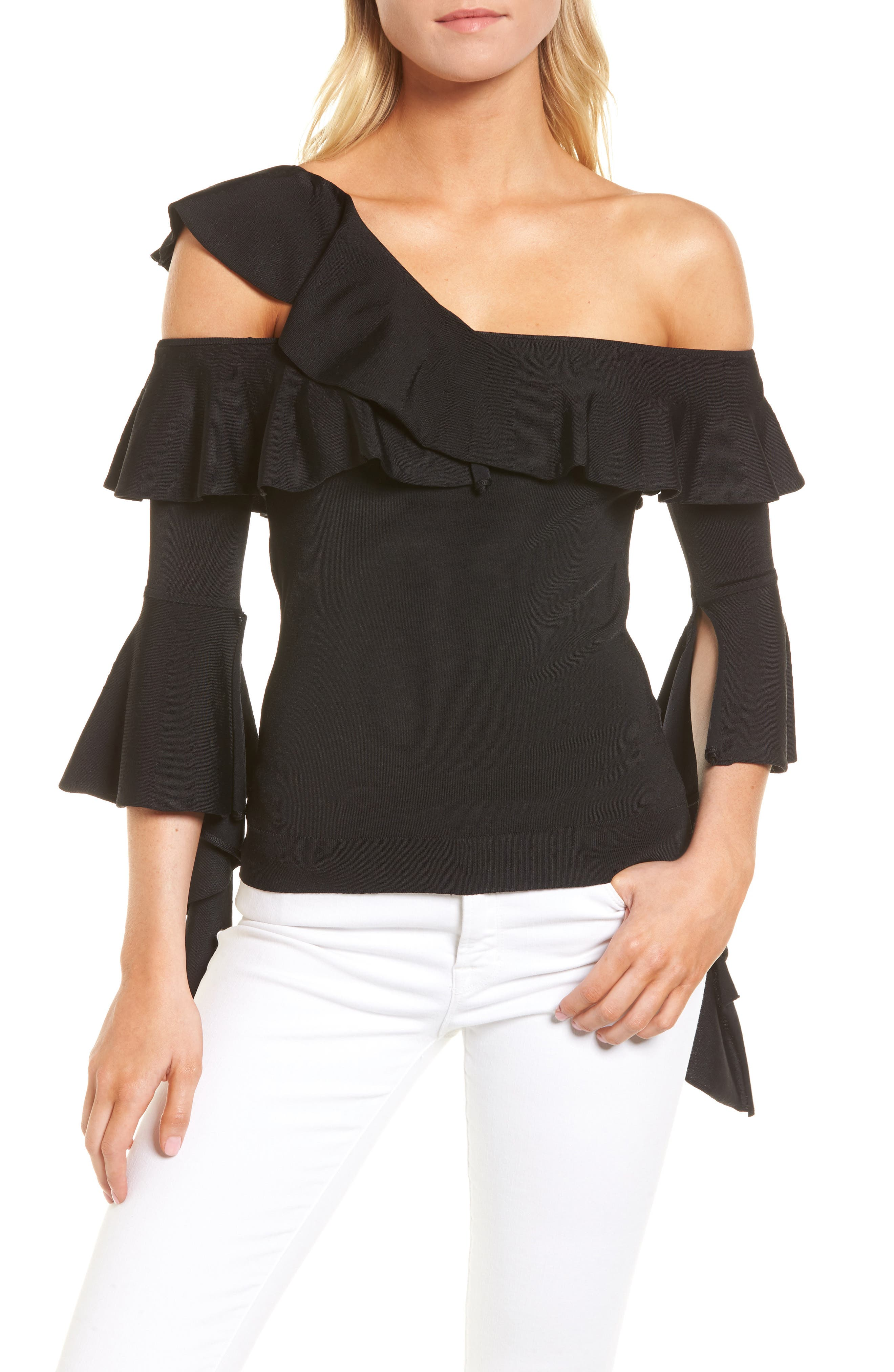 Cascading Ruffle One-Shoulder Top,                         Main,                         color, Black