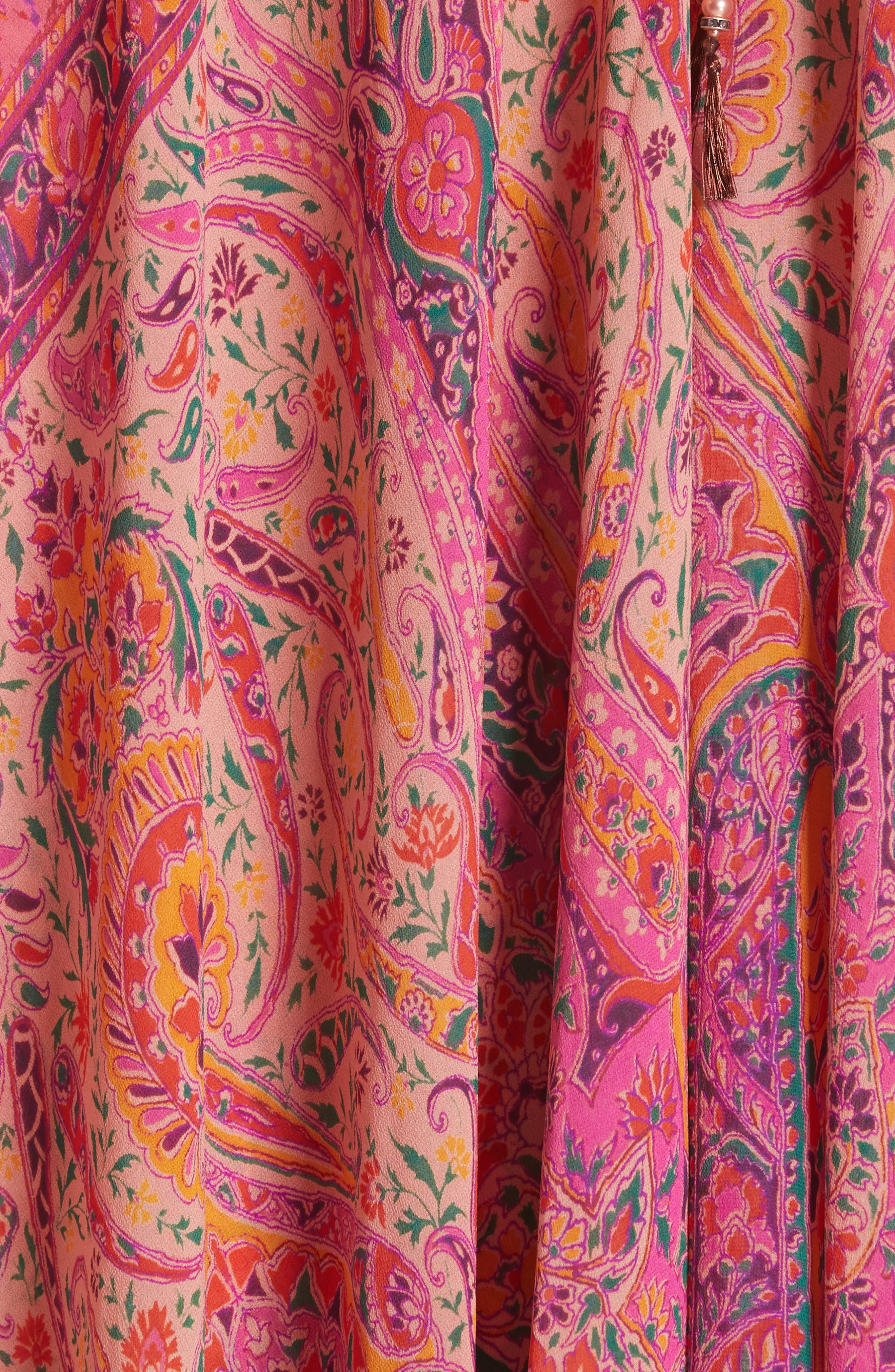 Beaded Halter Neck Silk Maxi Dress with Cape,                             Alternate thumbnail 6, color,                             Pink