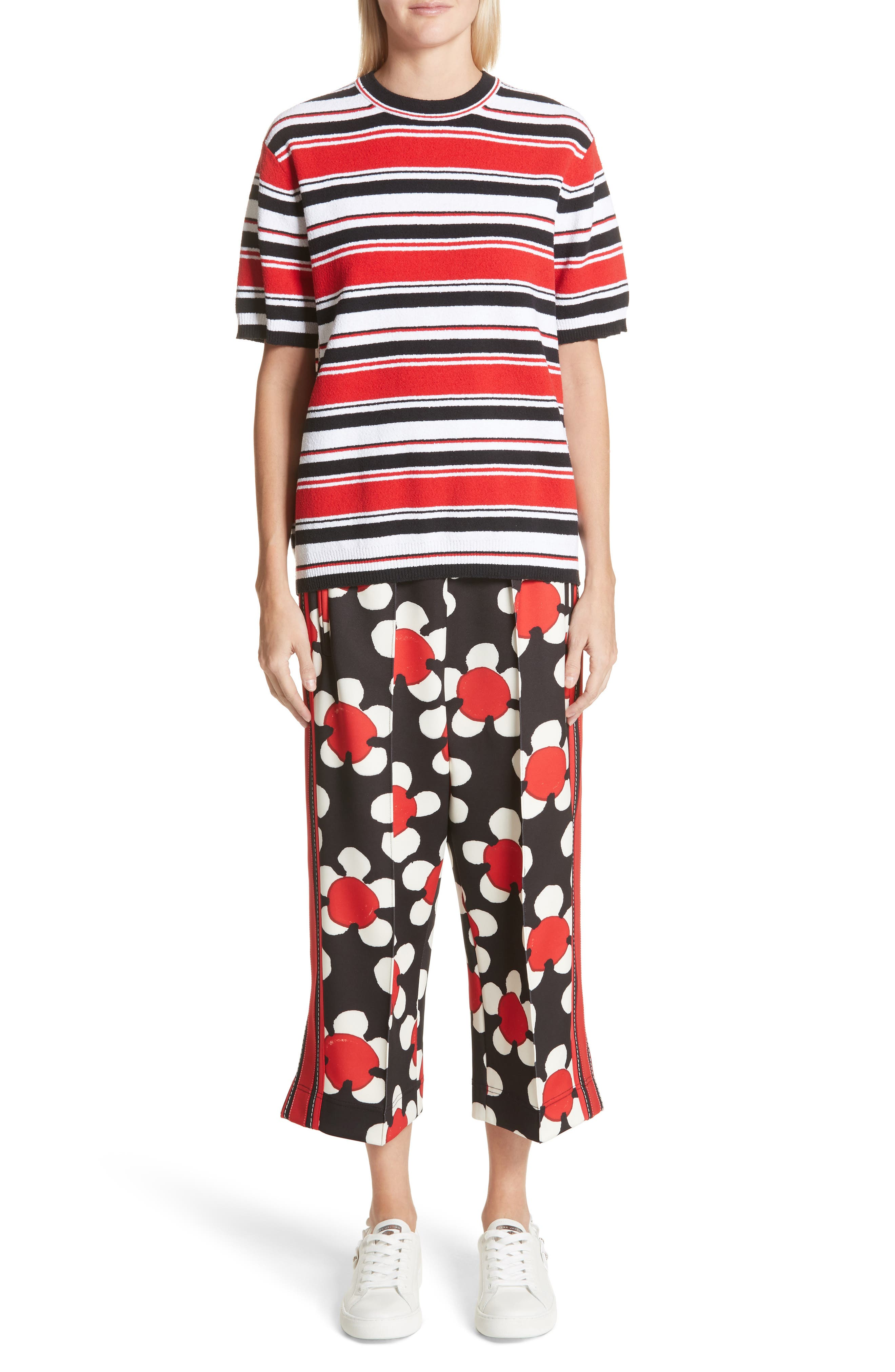 Floral Print Crop Track Pants,                             Alternate thumbnail 9, color,                             Red Multi