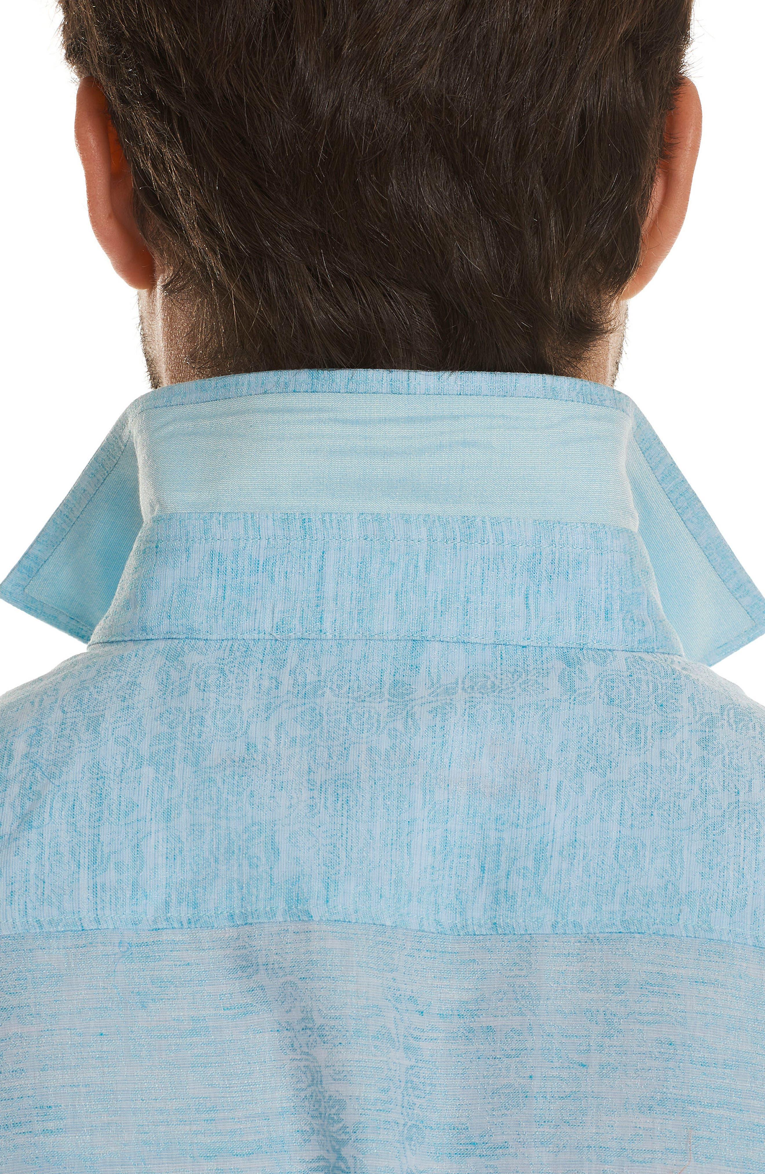 Cyprus Classic Fit Linen & Cotton Sport Shirt,                             Alternate thumbnail 3, color,                             Teal