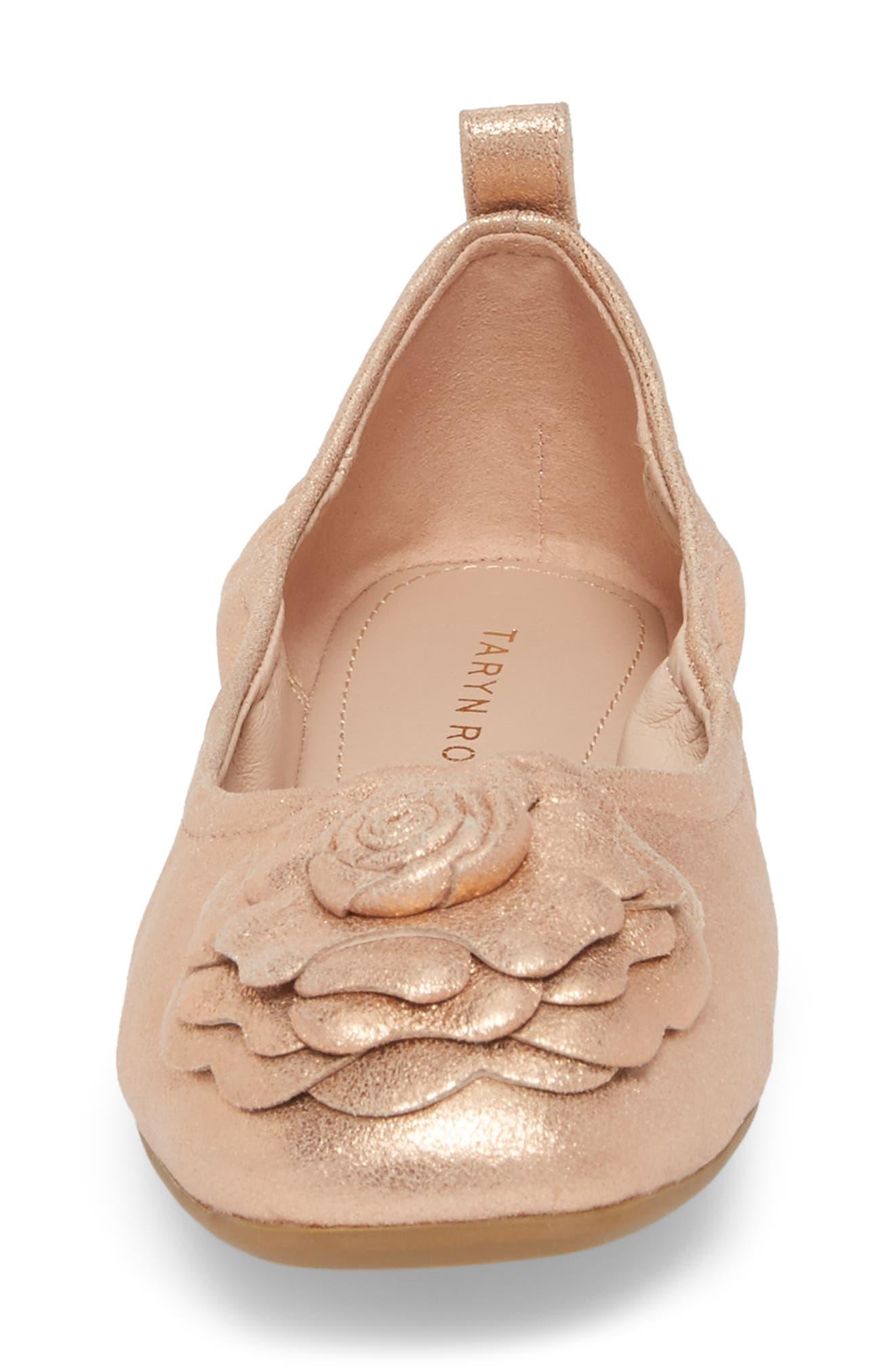 Rosalyn Ballet Flat,                             Alternate thumbnail 5, color,                             Rose Gold Leather